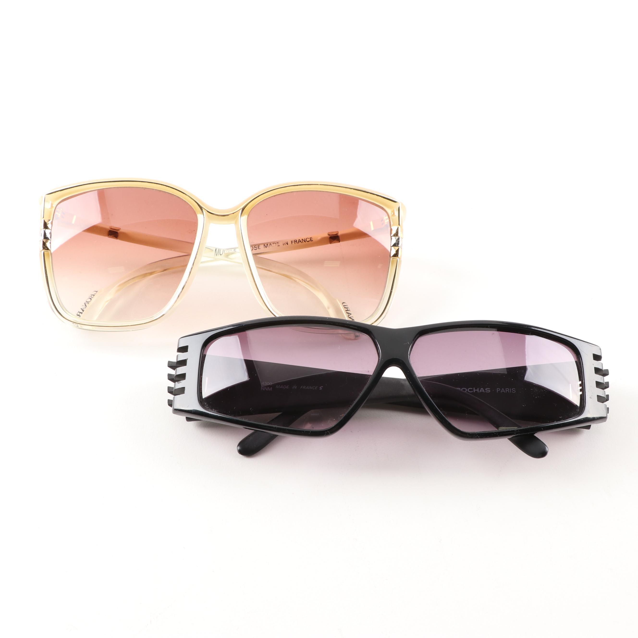 Rochas Paris and Leonard Sunglasses,1980s Vintage