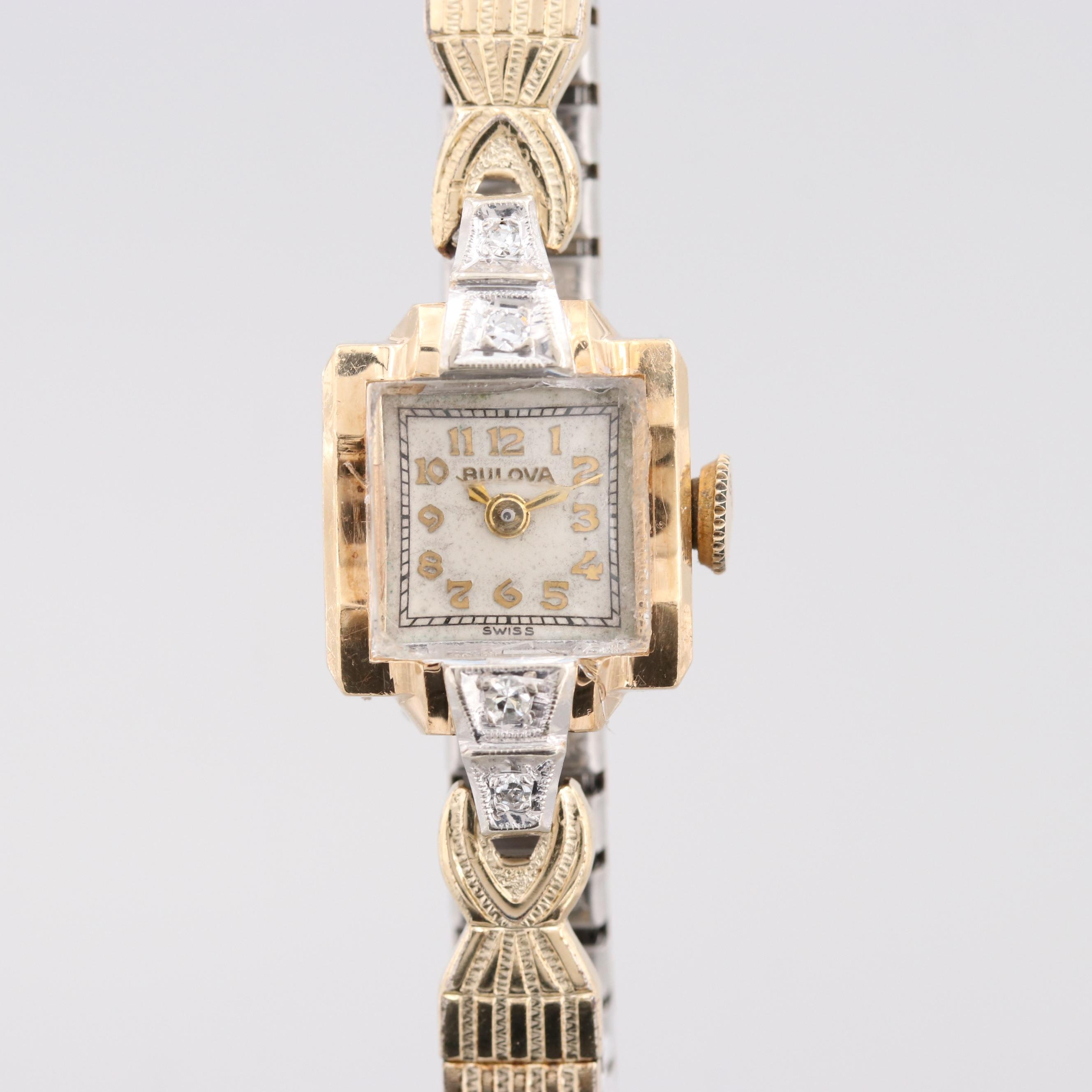 Bulova 14K Yellow Gold Wristwatch With Diamonds