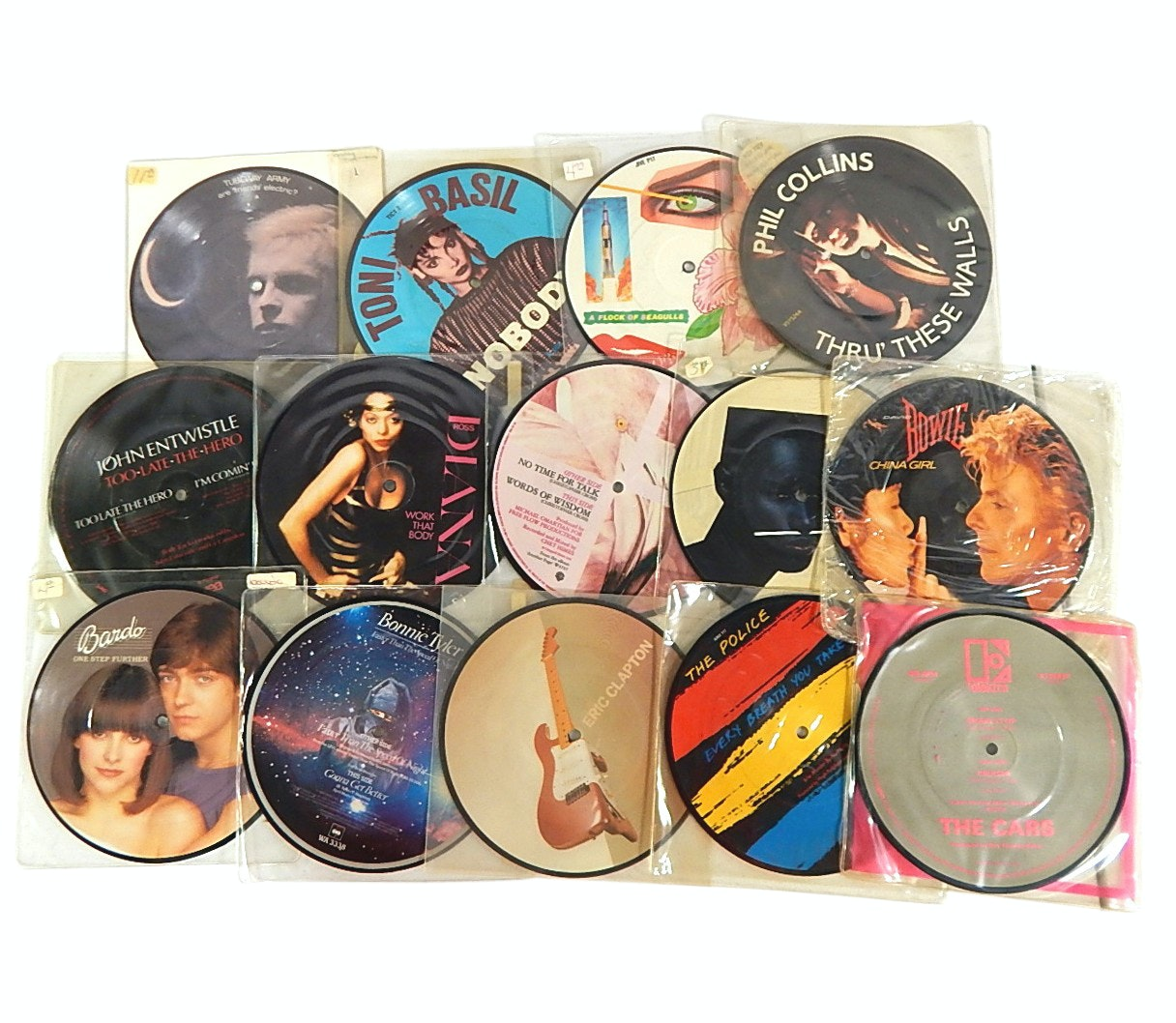 1980s 45 RPM Picture Discs with Bowie, The Cars, The Police, More