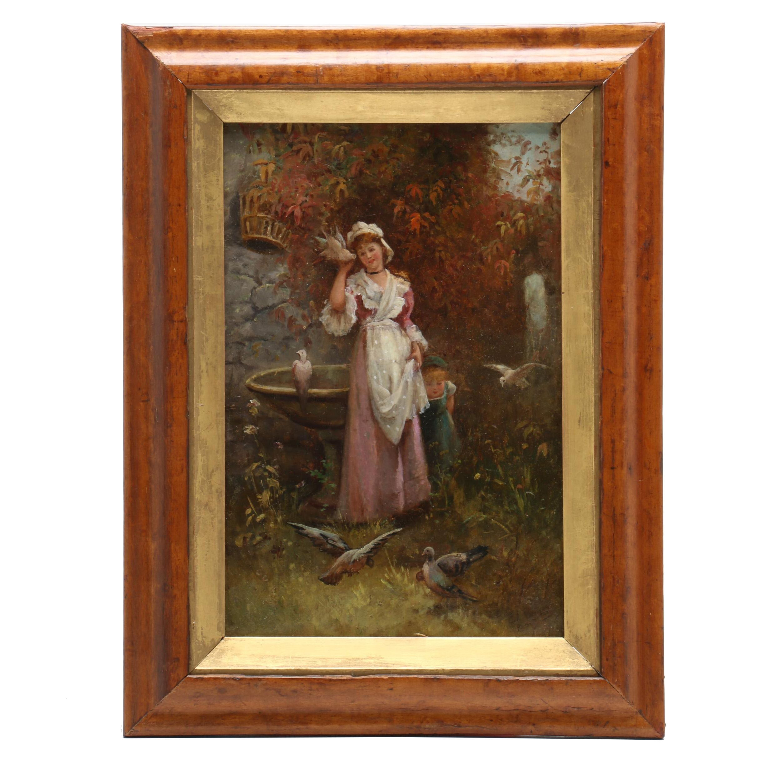 Ed Burges Oil Painting of Woman and Child with Doves