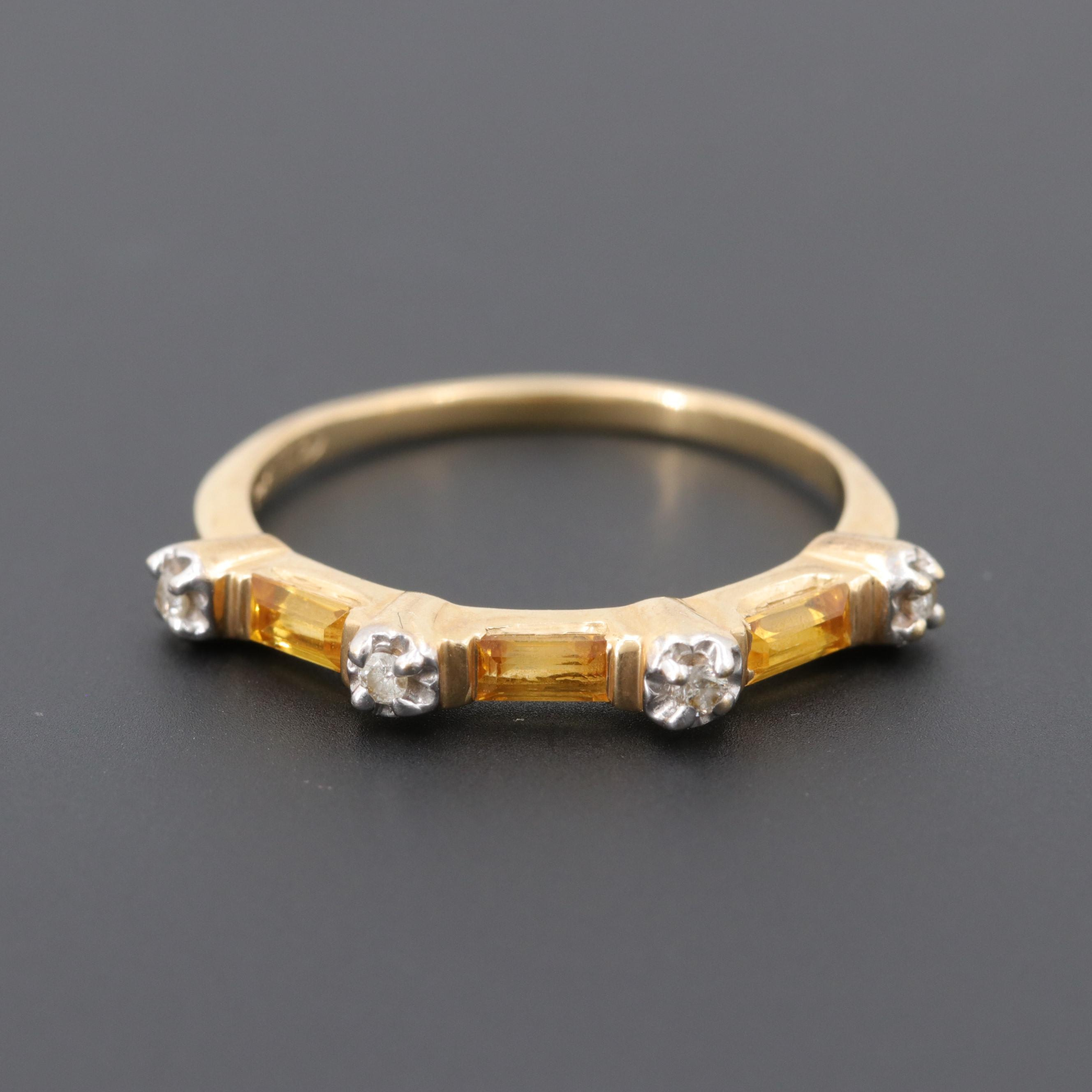 14K Yellow Gold Synthetic Yellow Sapphire and Diamond Ring