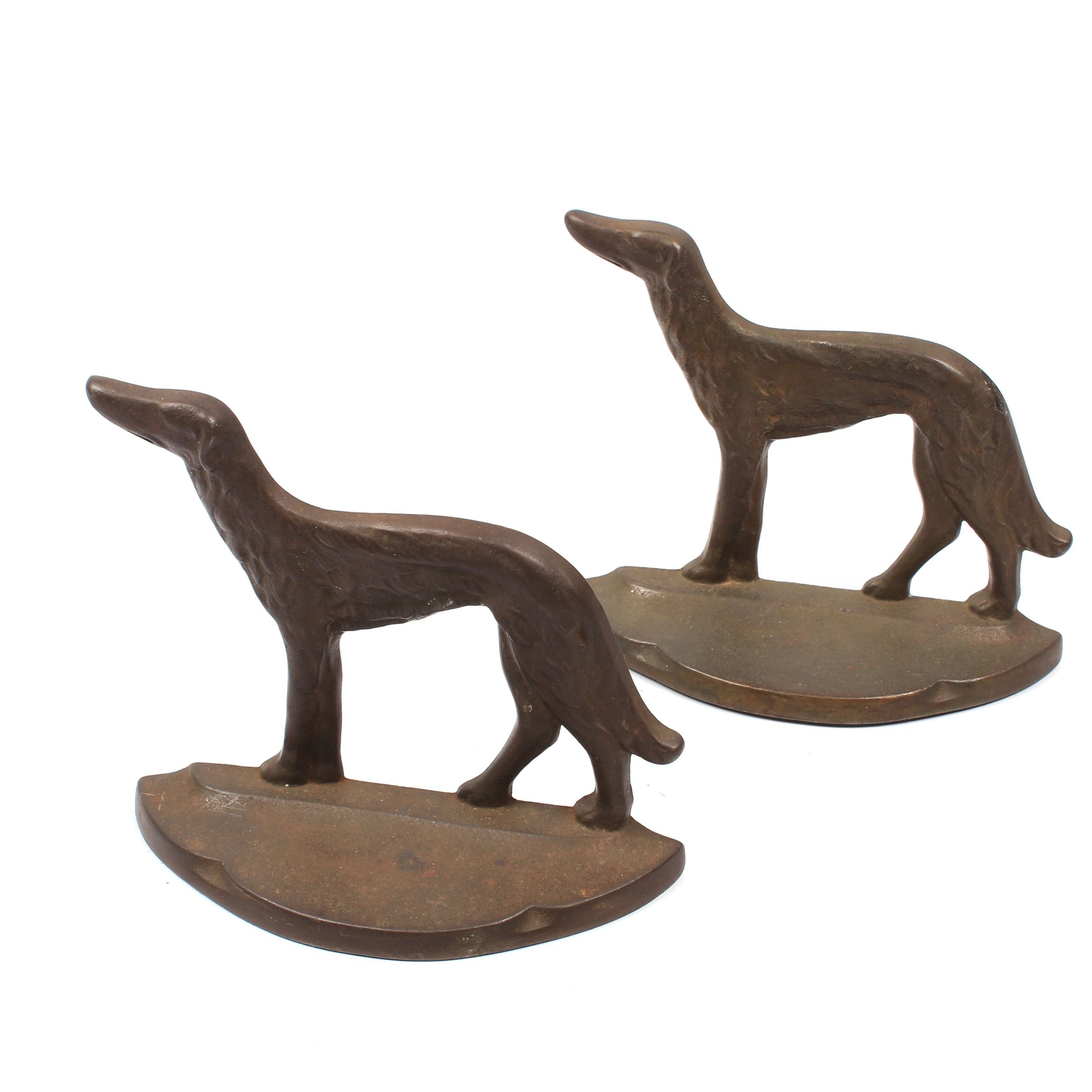 """Connecticut Foundry """"Russian Wolfhound"""" Cast Metal Bookends"""