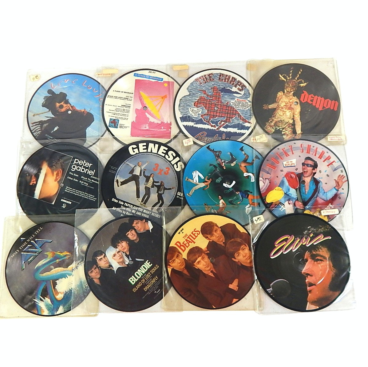 1980s 45 RPM Picture Discs with The Beatles, Elvis Presley, Blondie, More