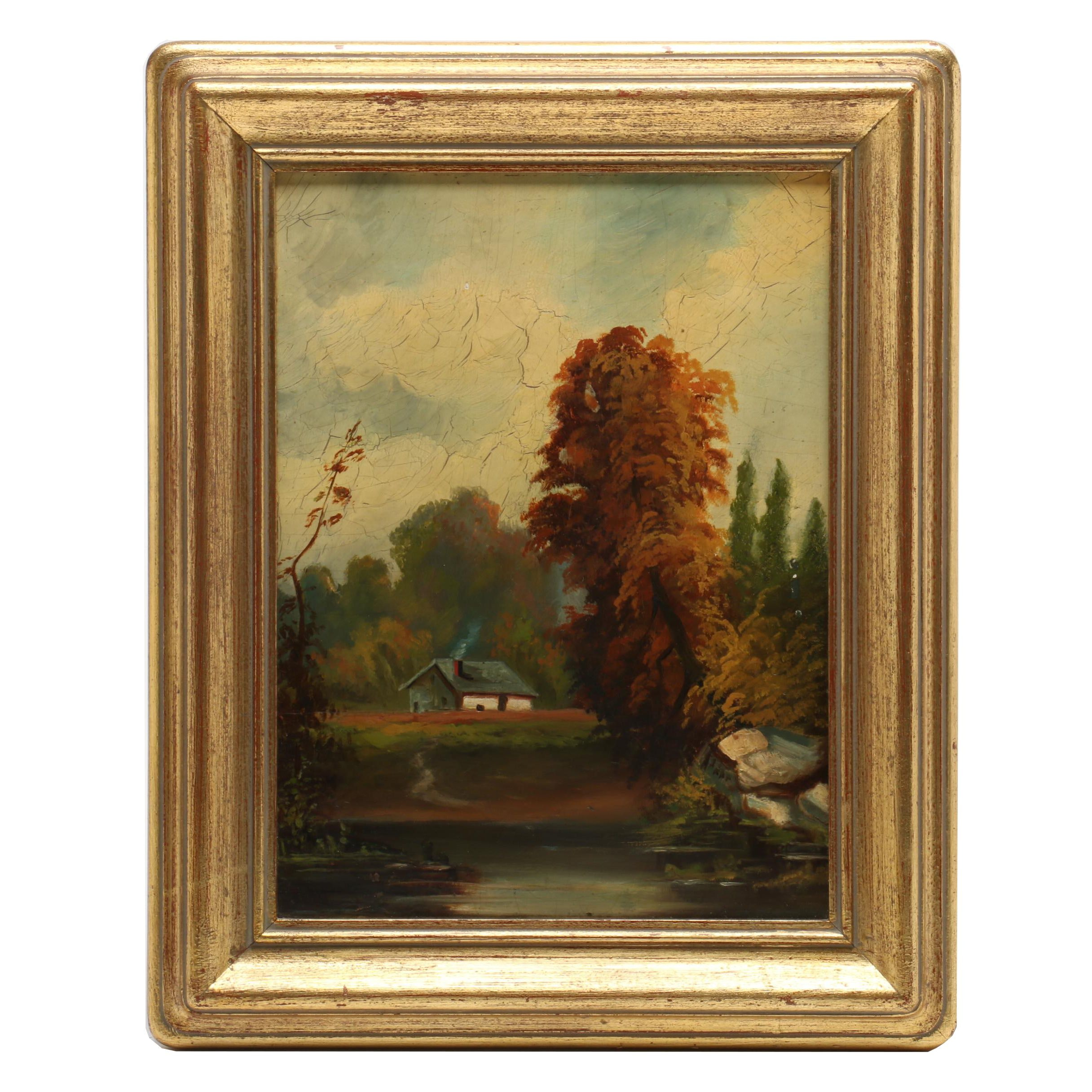 Minnie Bath Houser Oil Painting of House in Landscape
