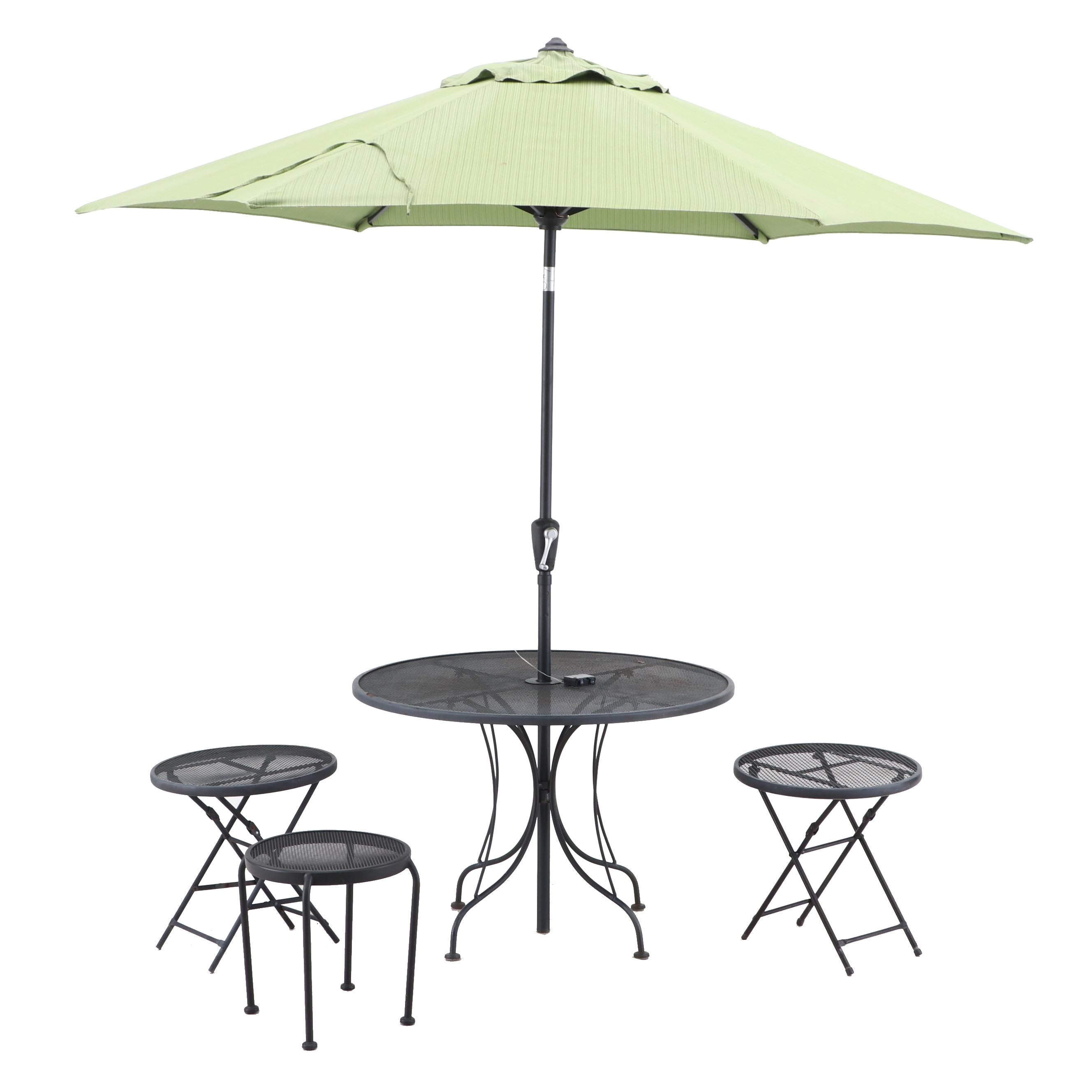 Patio Table with Umbrella and Three Stools