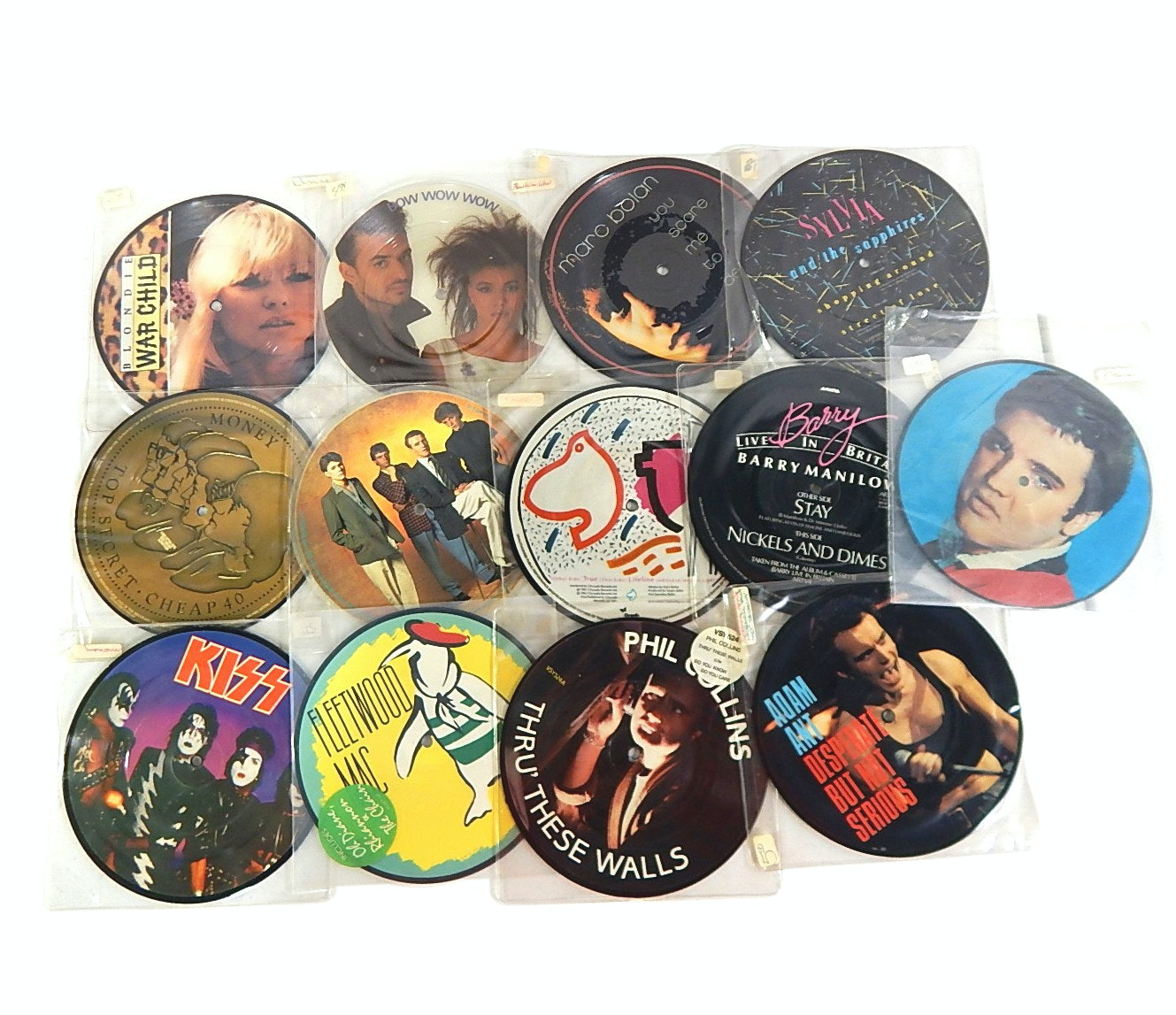 1980s 45 RPM Picture Discs Records with Fleetwood Mac, Adam Ant, Kiss, More