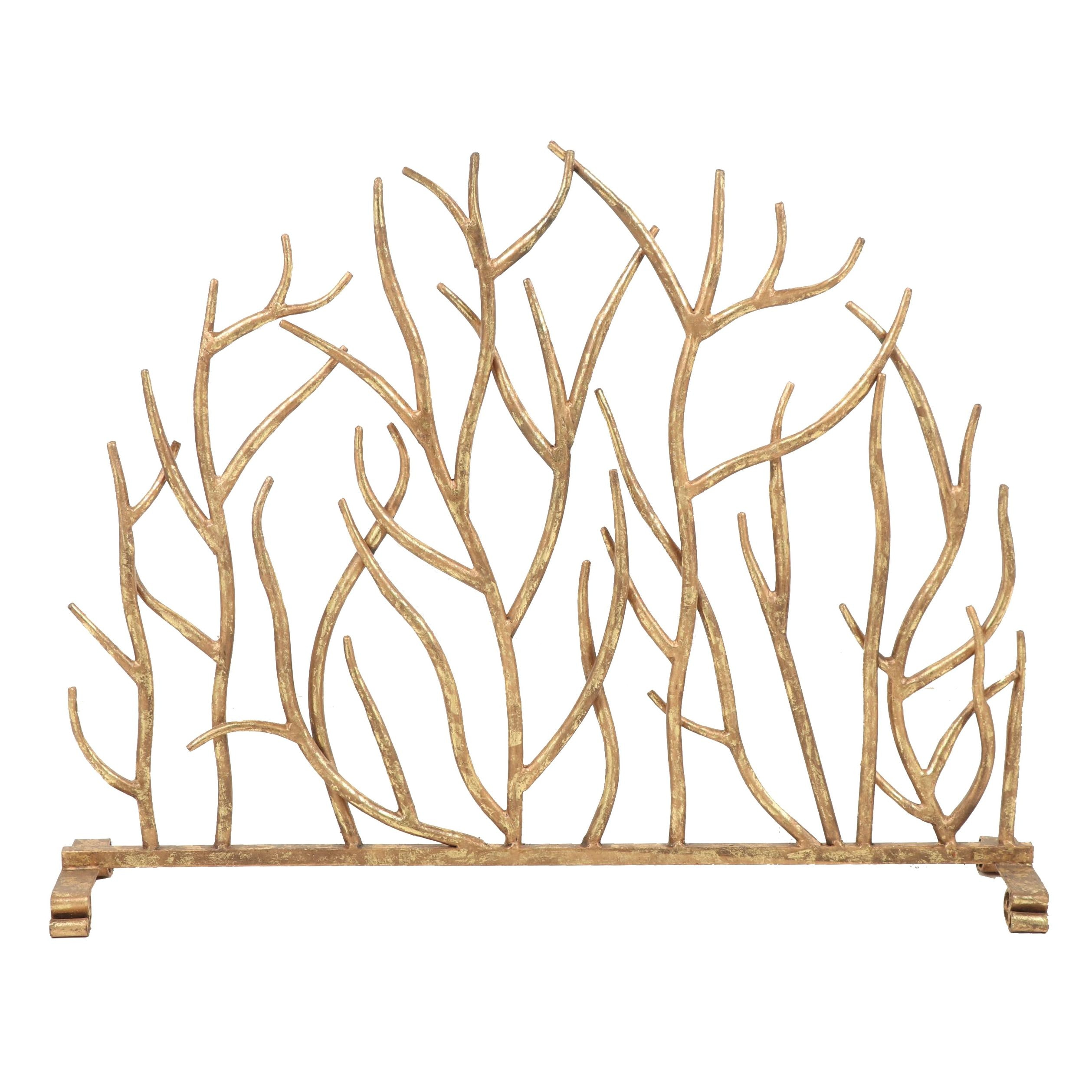 Gilded Brass Metal Fireplace Screen