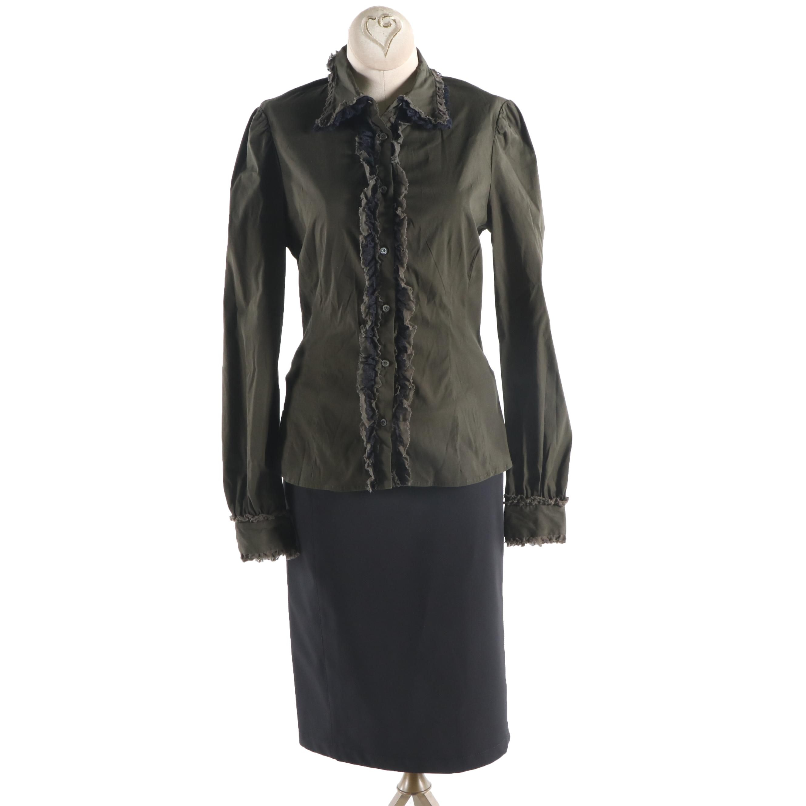 Women's Prada Olive and Black Ruffled Button-Front Blouse and Black Skirt