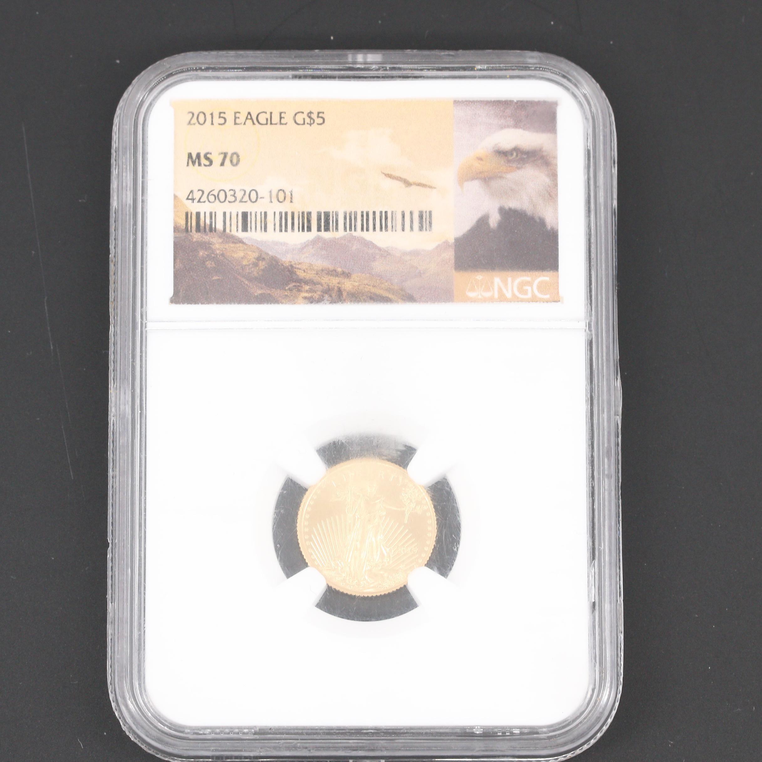 NGC Graded 2015 $5 Gold Eagle 1/10 Oz. Bullion Coin