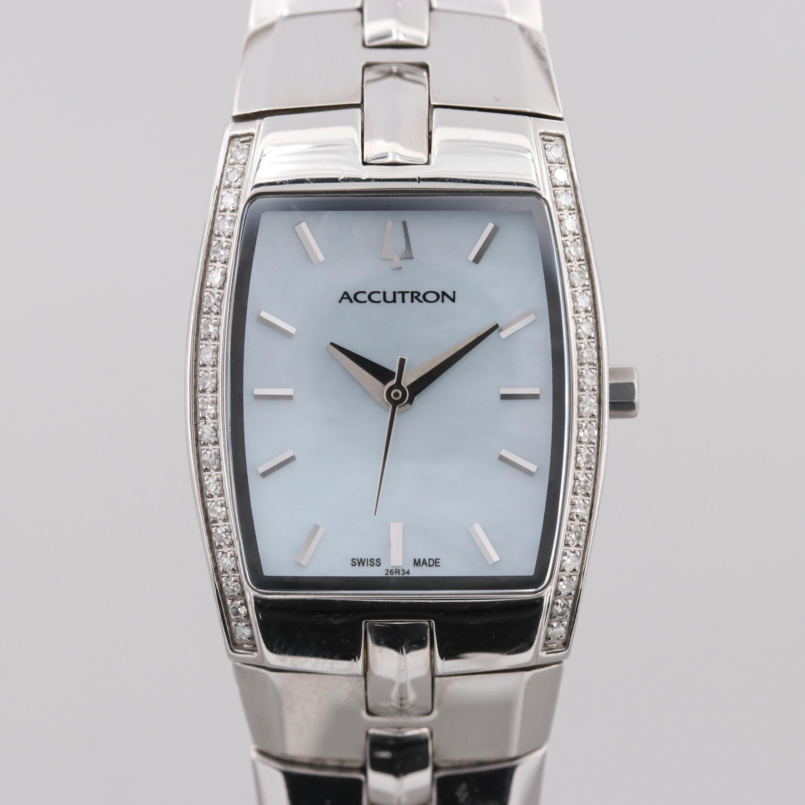 Accutron Stainless Steel Diamond Wristwatch With Mother of Pearl Dial