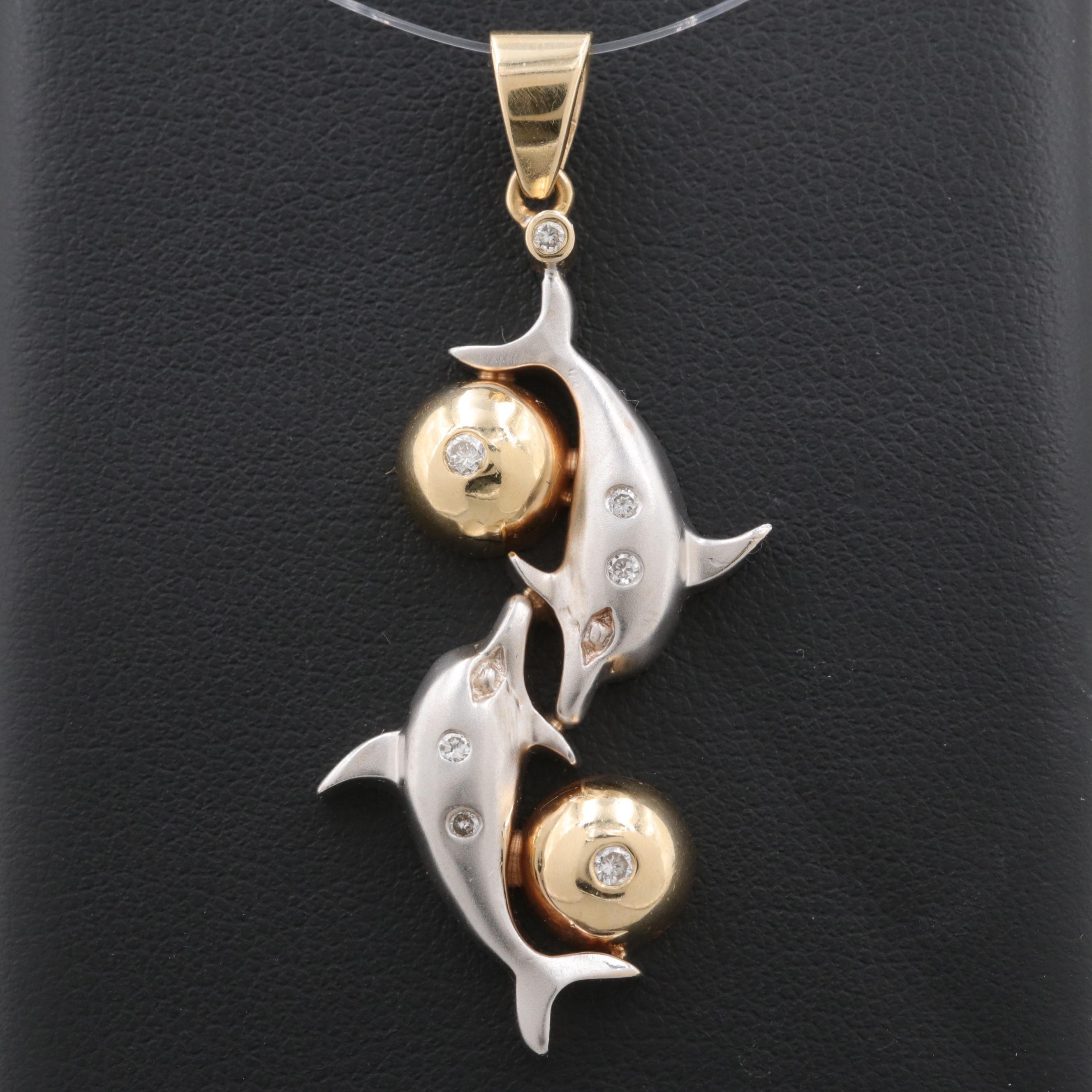 14K Yellow and White Gold Diamond Dolphin Pendant
