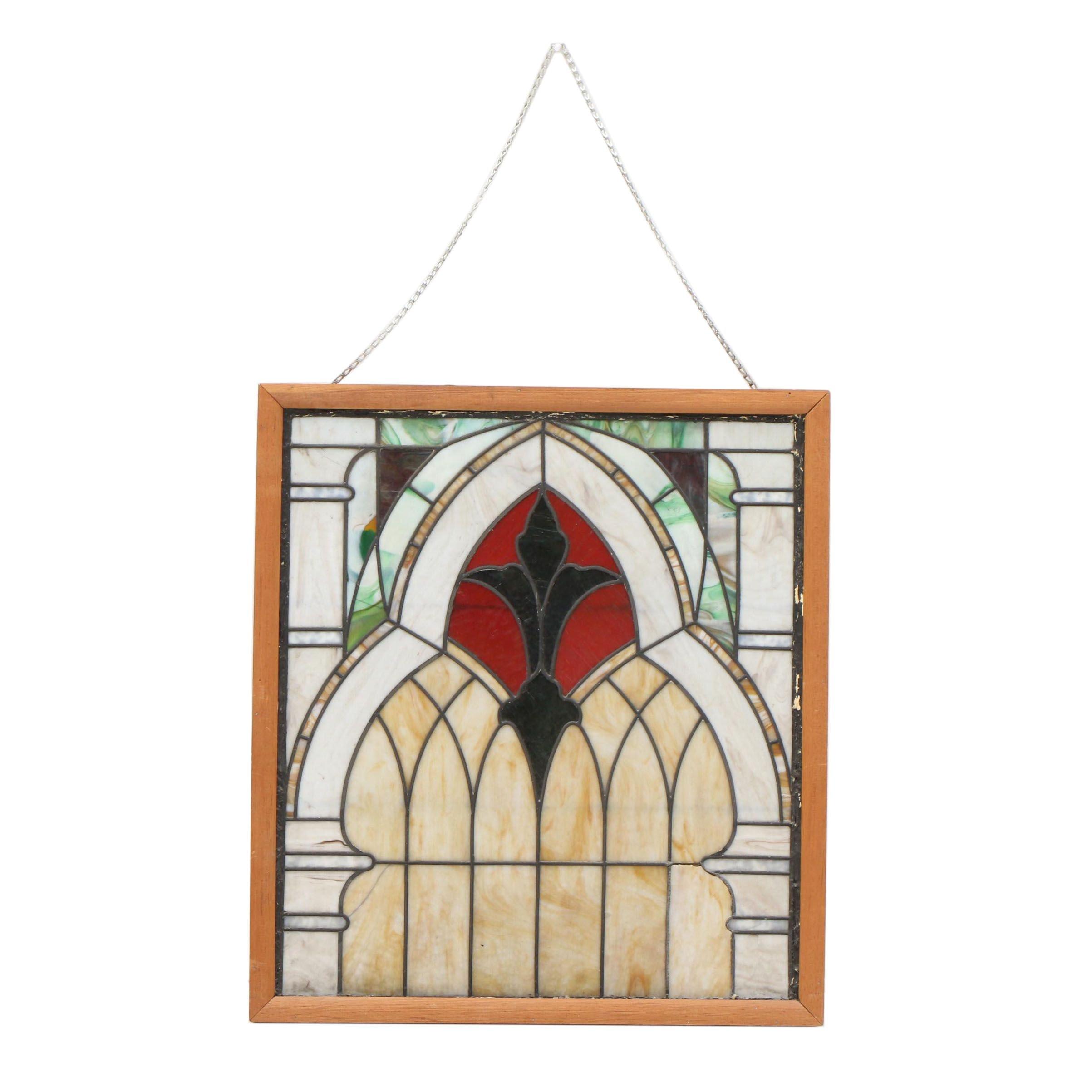 Framed Leaded Slag Glass Panel