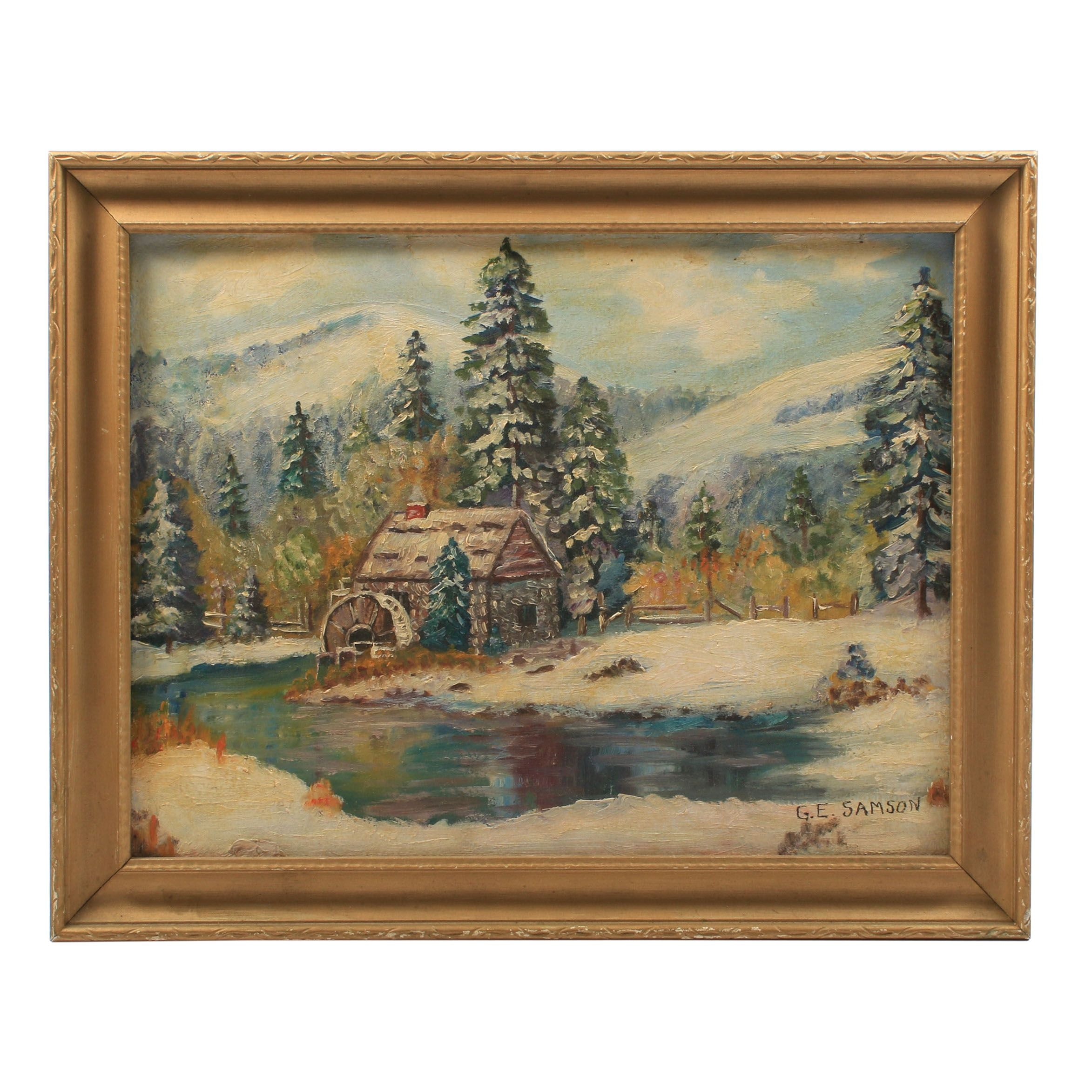 G. E. Samson 1955 Oil Painting of a Winter Landscape