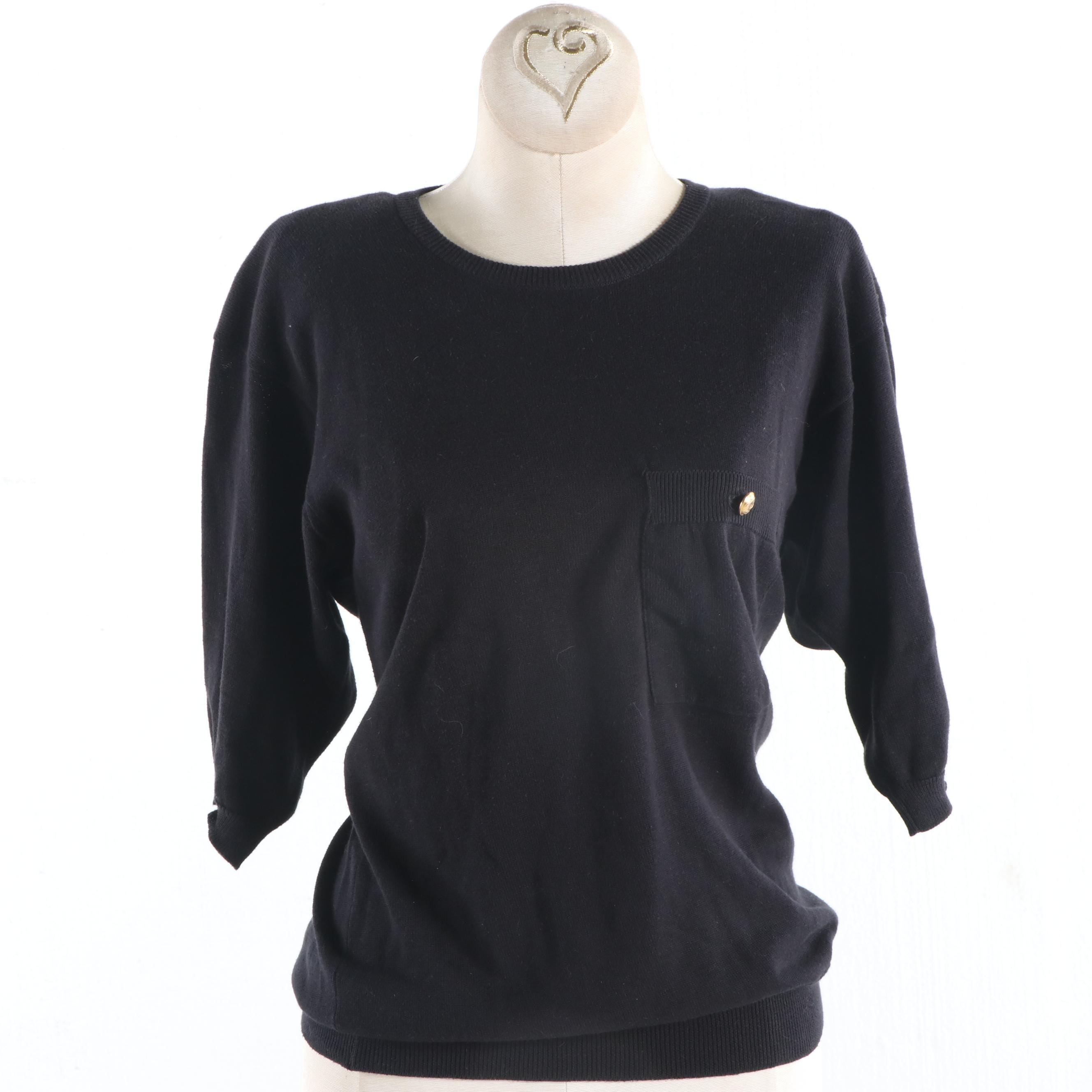 Women's Chanel Black Cotton Knit Sweater, 1980s Vintage