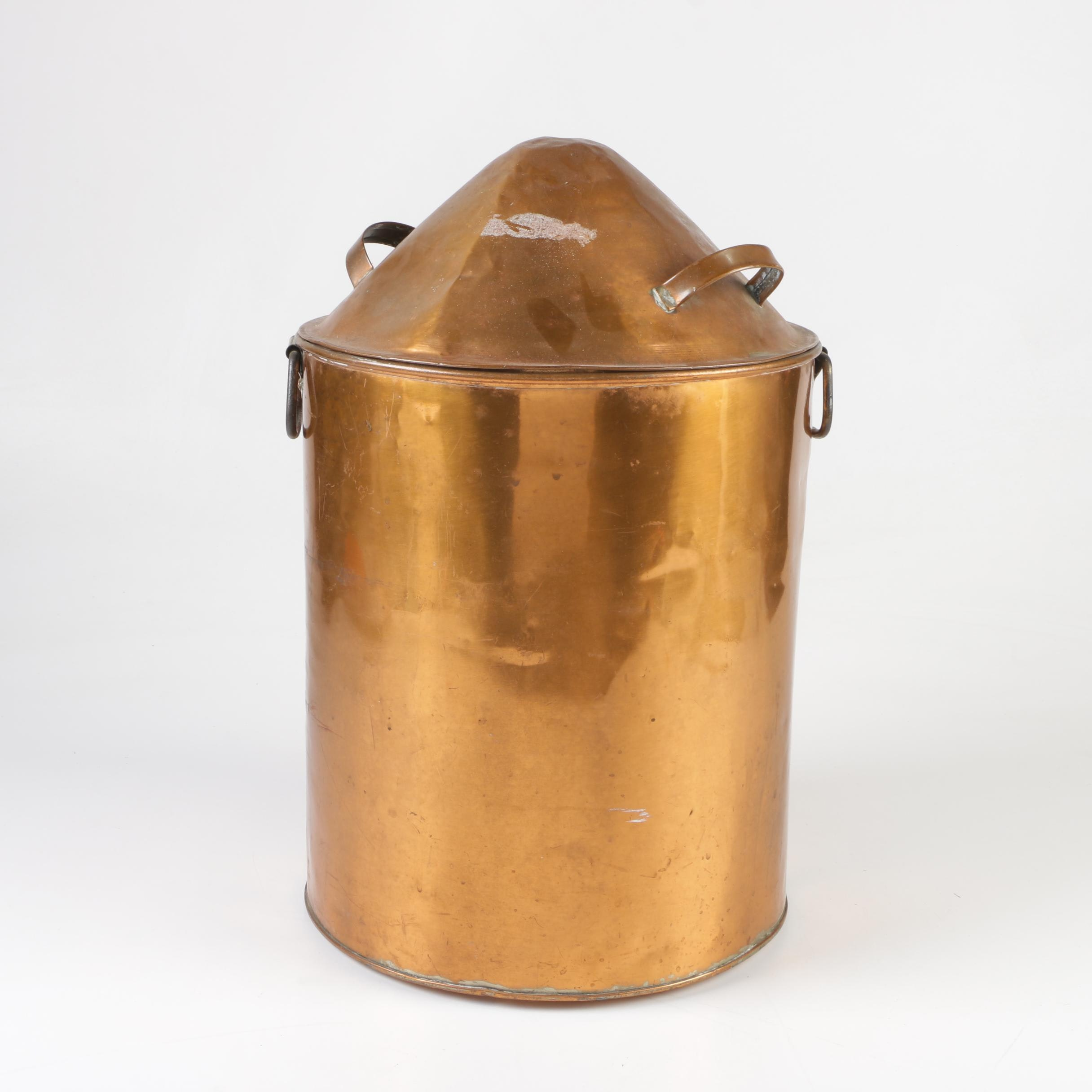Copper Stockpot with Domical Lid, Early 20th Century