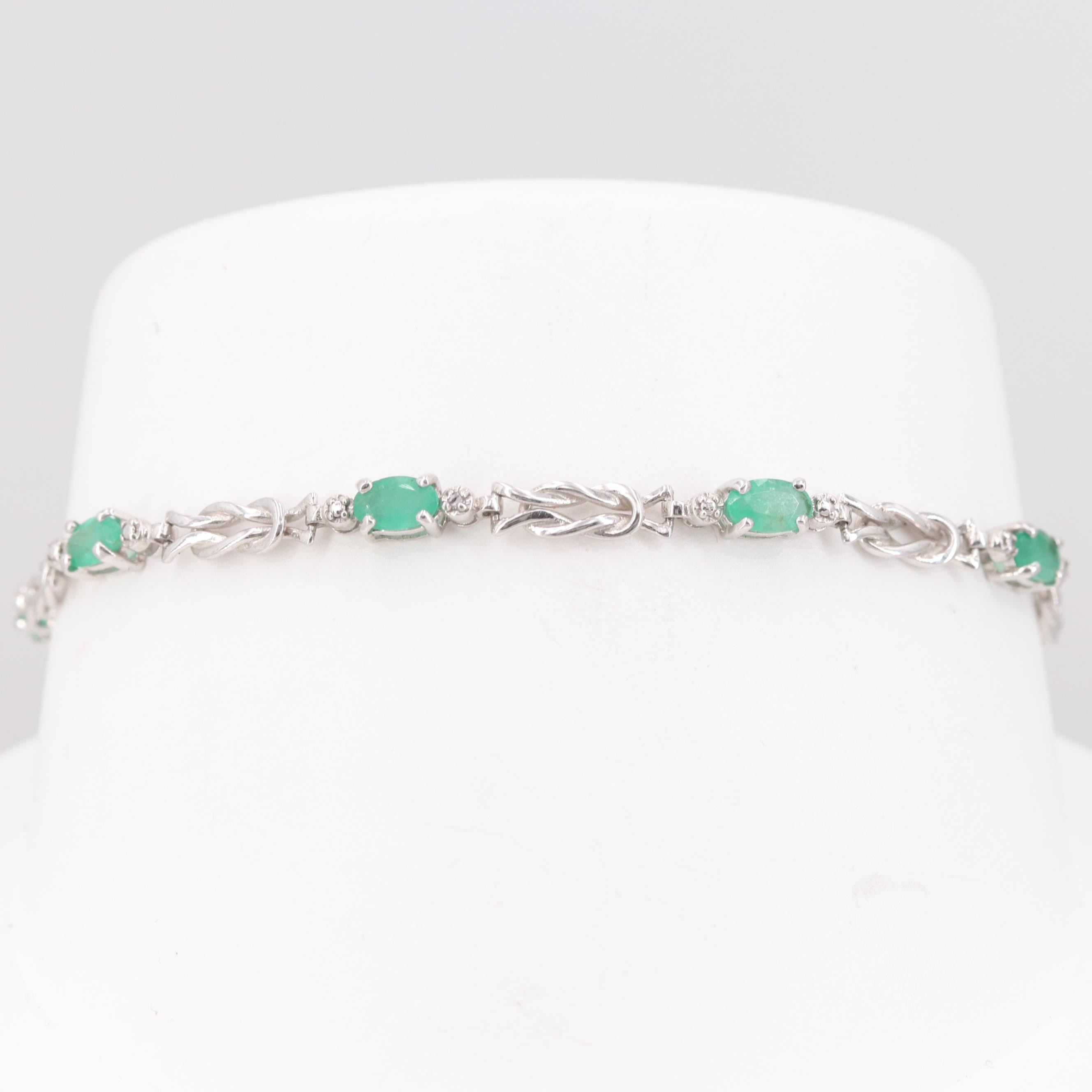 10K White Gold Emerald and Diamond Bracelet