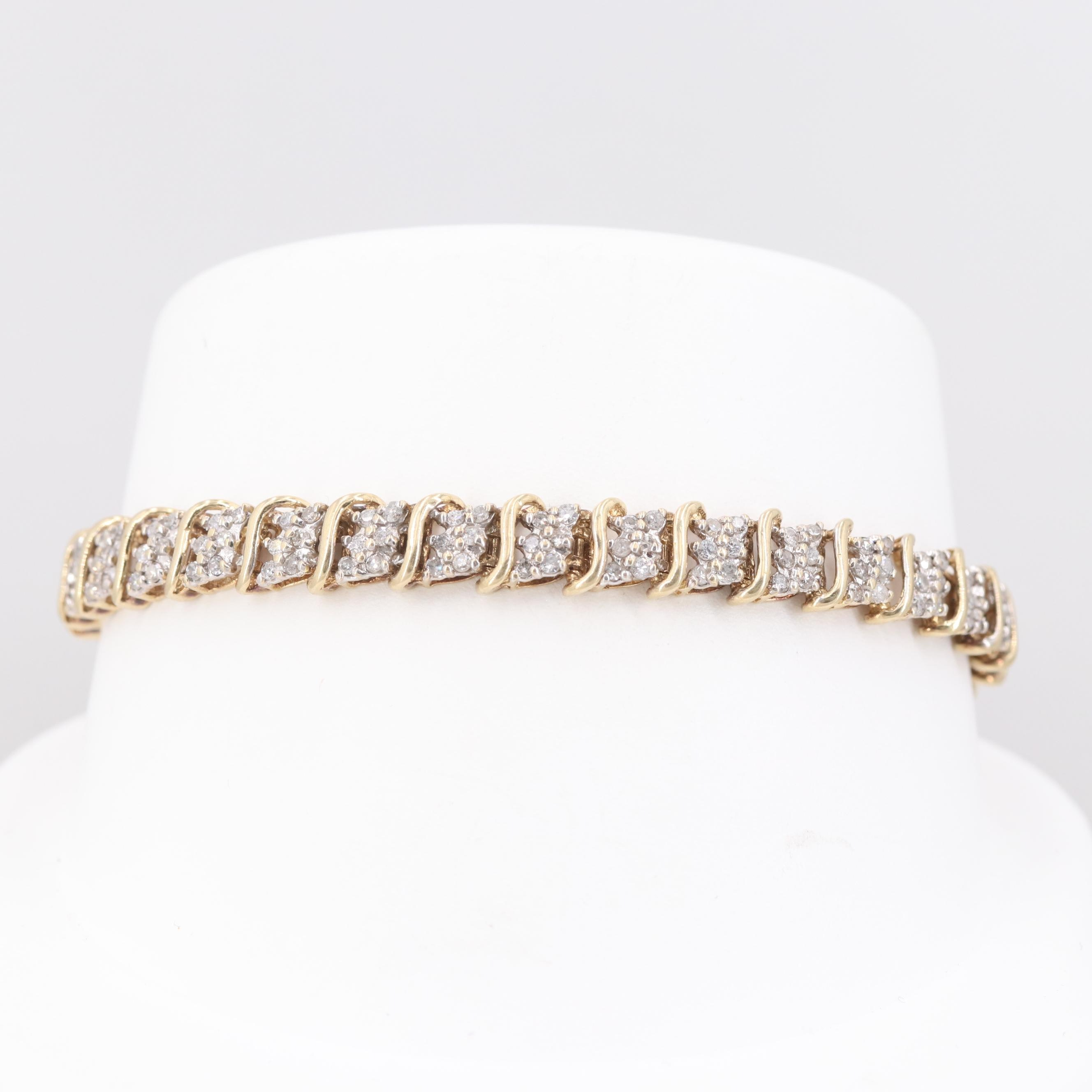 10K Yellow Gold 1.99 CTW Diamond Bracelet