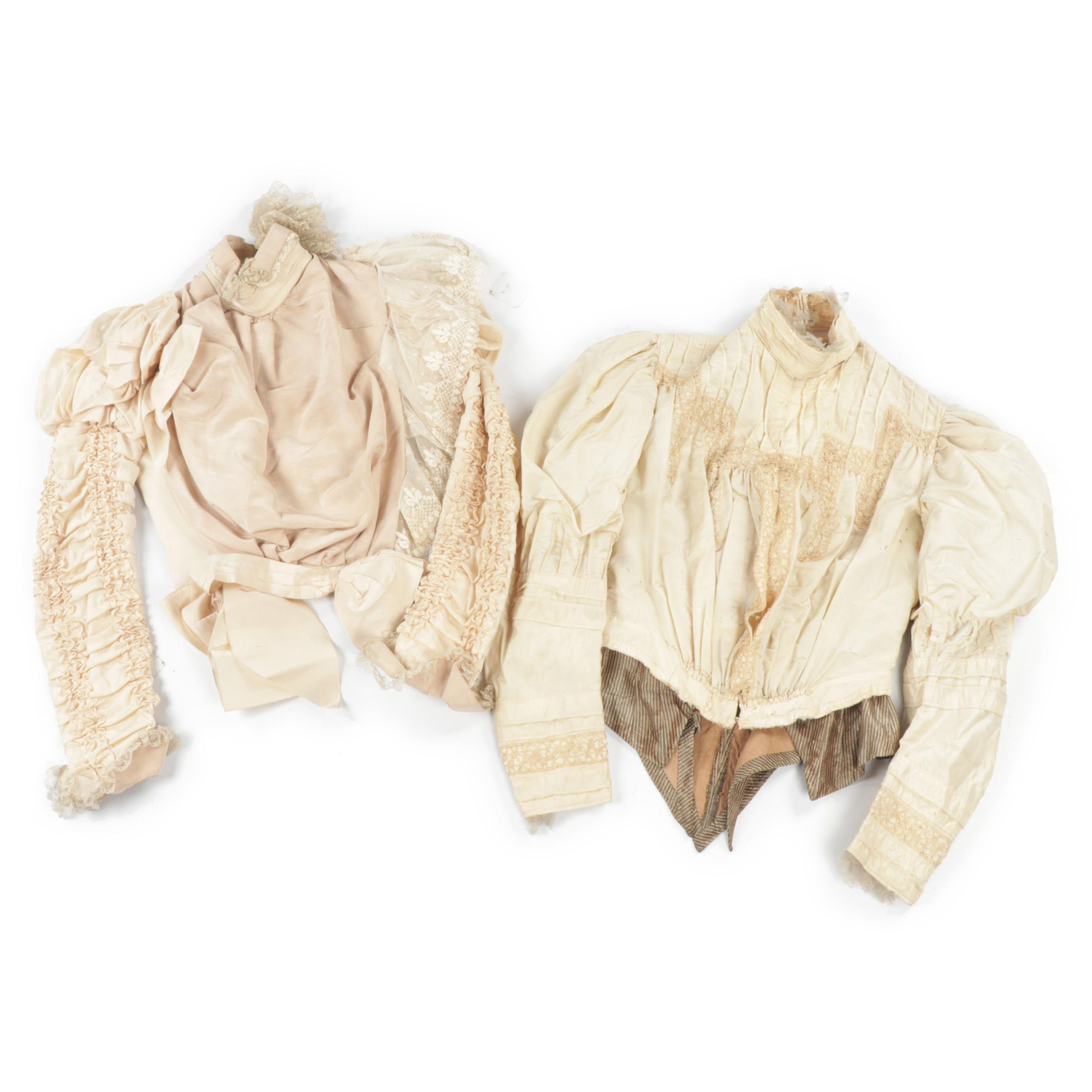 Late Victorian Ruffled Silk Blouses with Hand Tatted Lace, Late 19th Century