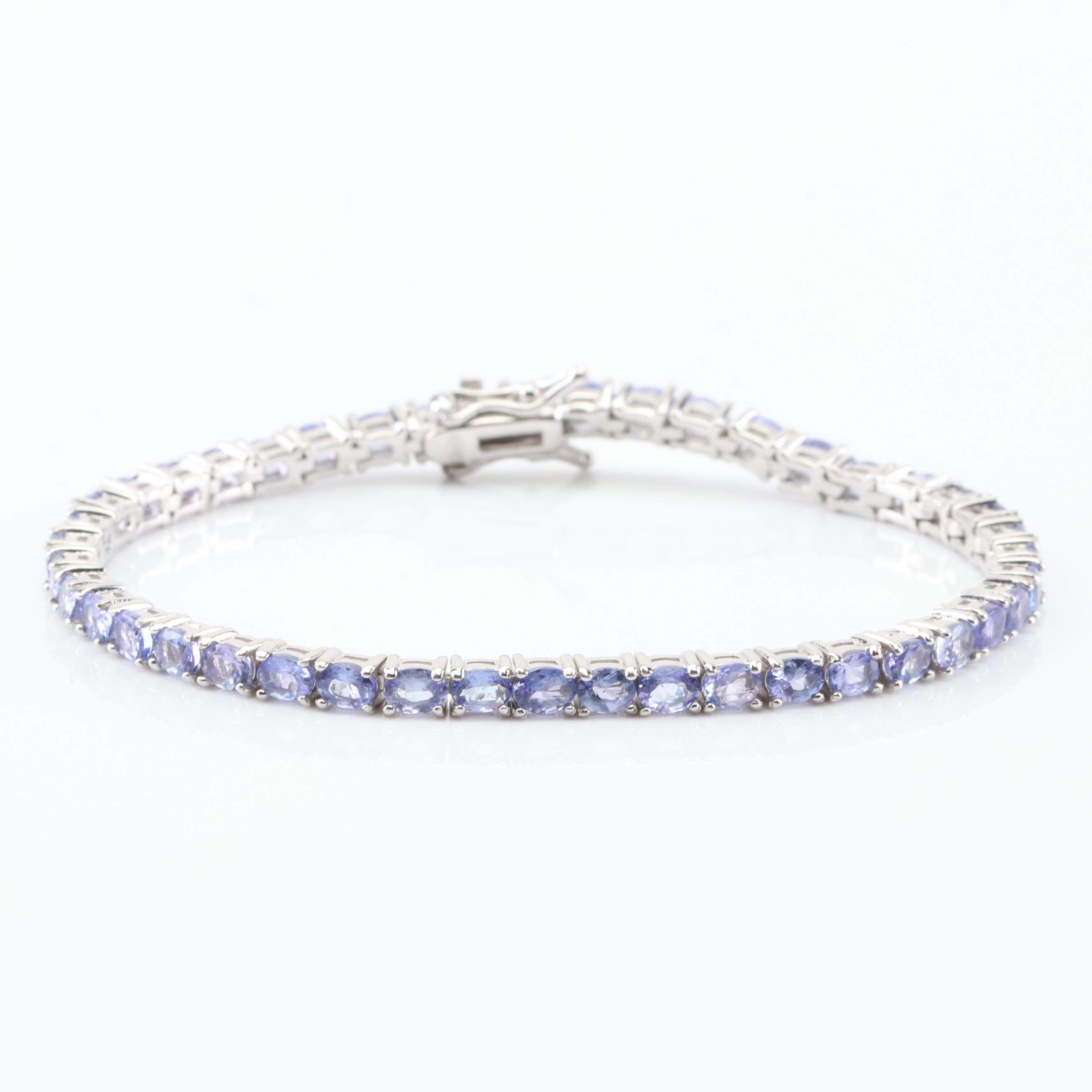Sterling Silver 7.74 CTW Tanzanite Tennis Bracelet