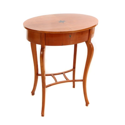 Biedermeier Style Fruitwood and Marquetry Top Side Table, 20th Century