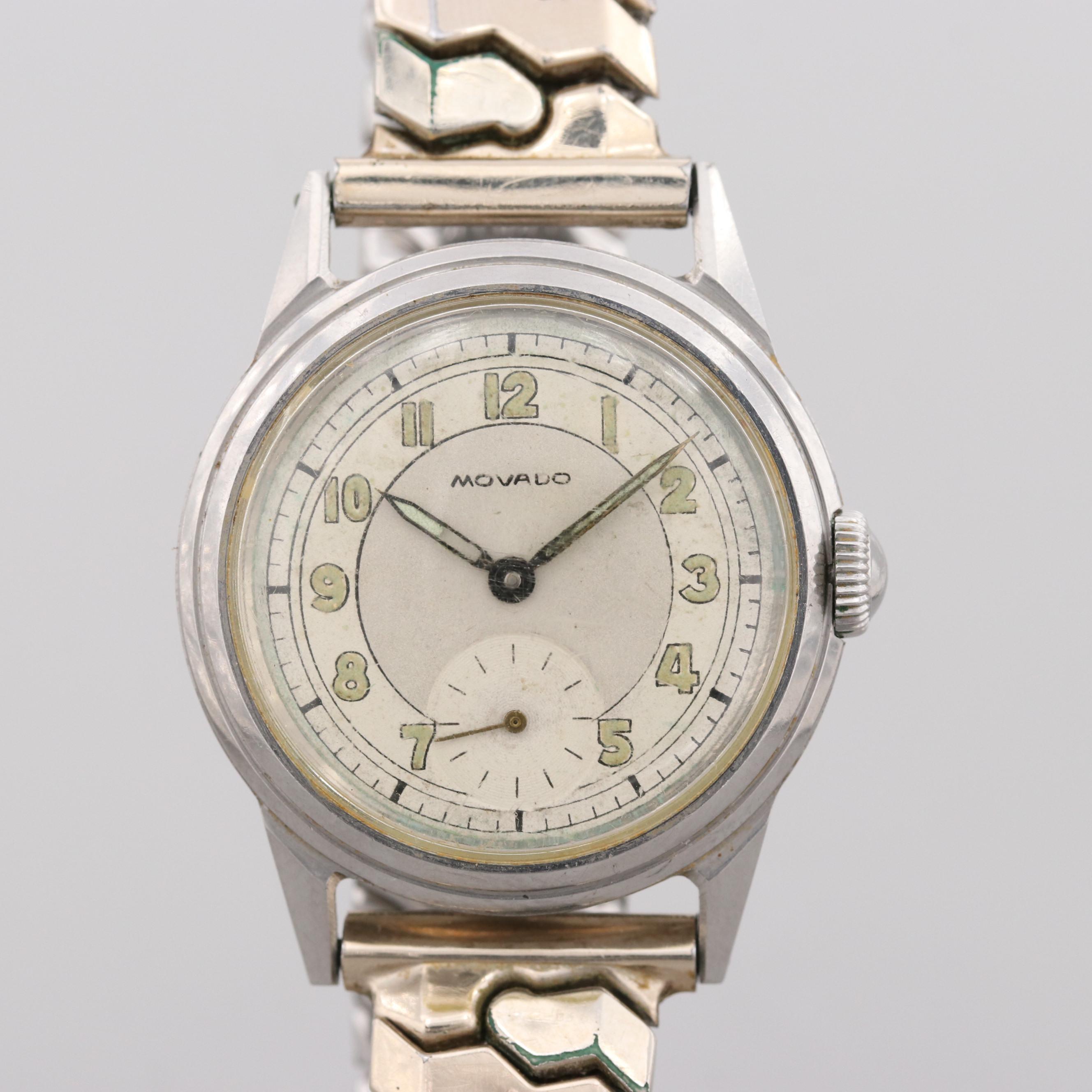Vintage Movado Stainless Steel Stem Wind Wristwatch