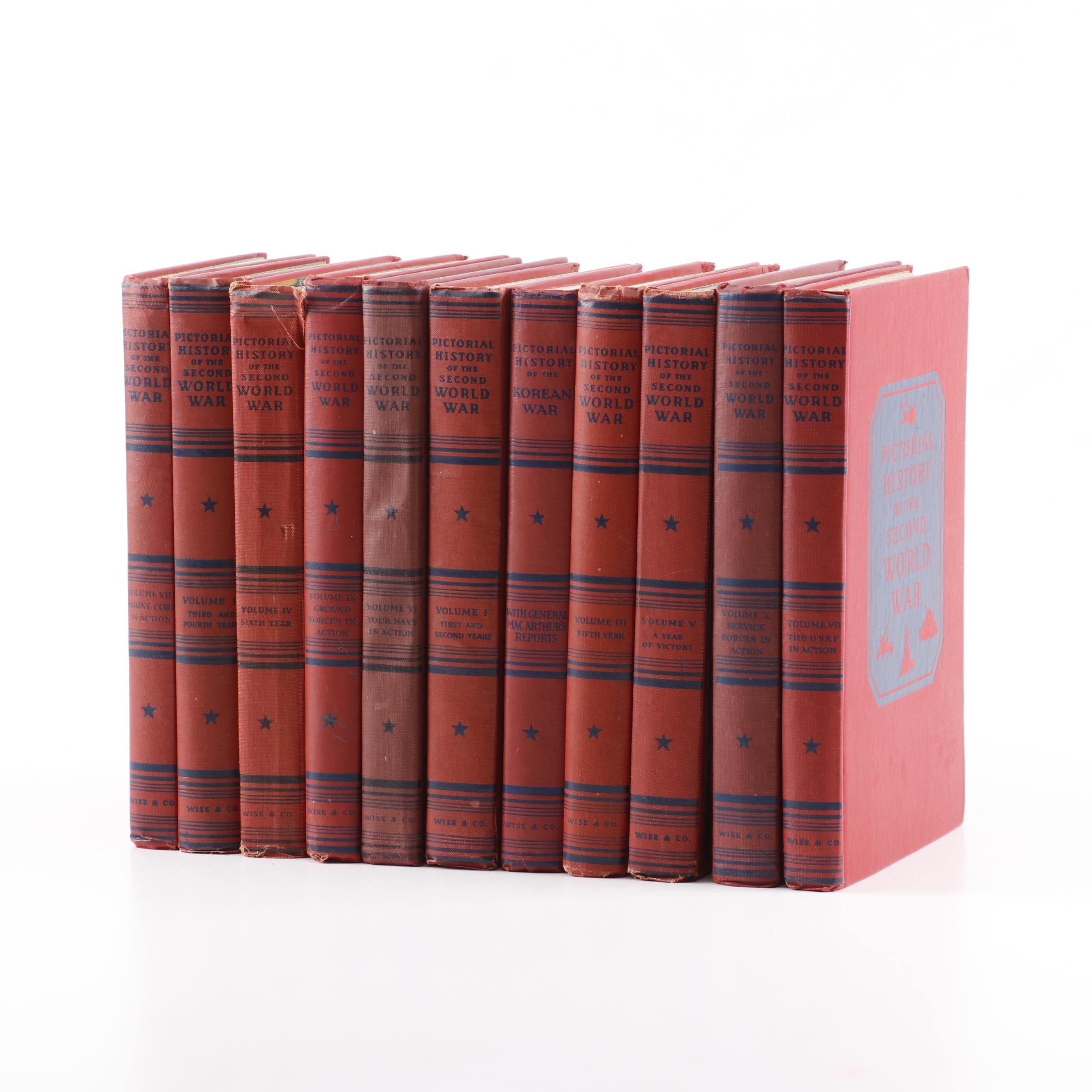 """""""Pictorial History of the Second World War"""" Eleven Volume Set, Mid Century"""