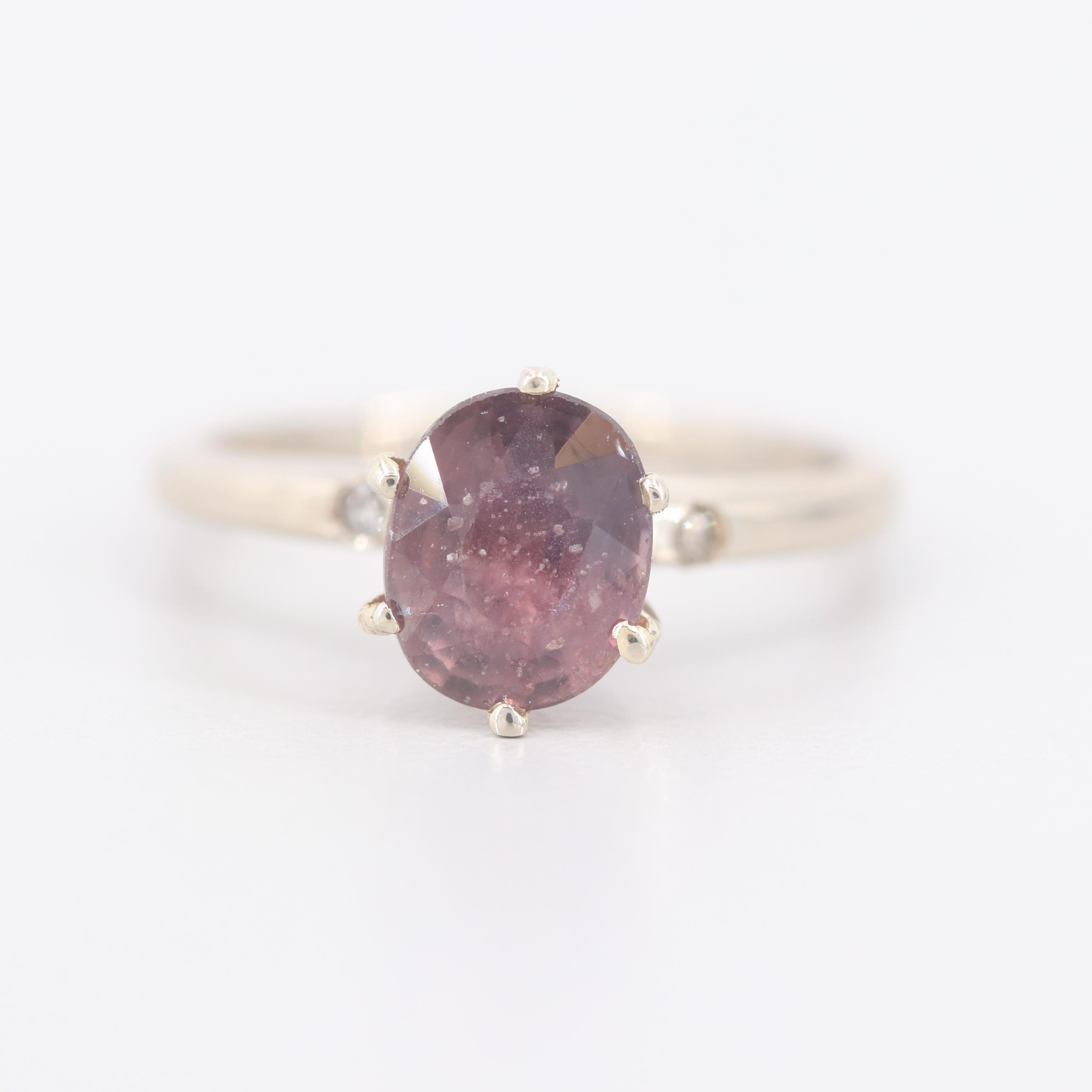 14K White Gold Unheated 1.72 CT Color Shift Sapphire and Diamond Ring