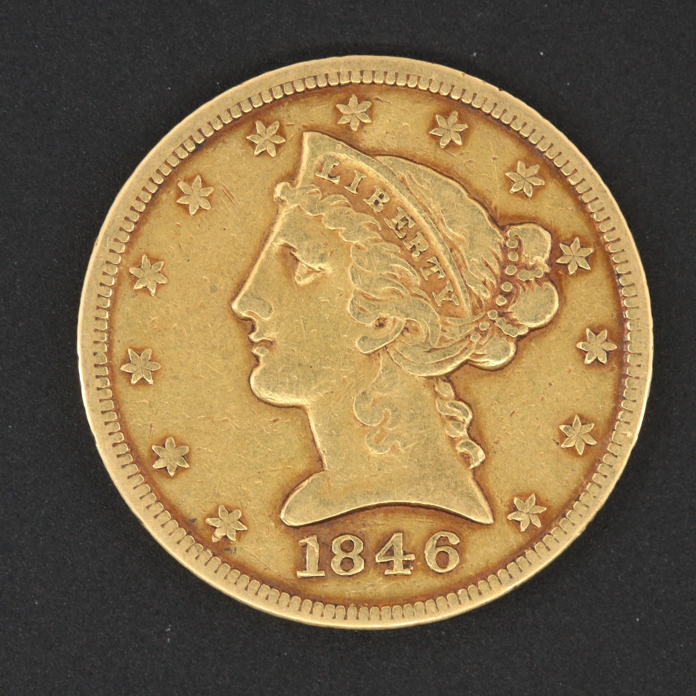 1846 Large Date Variety Liberty Head $5 Gold Coin