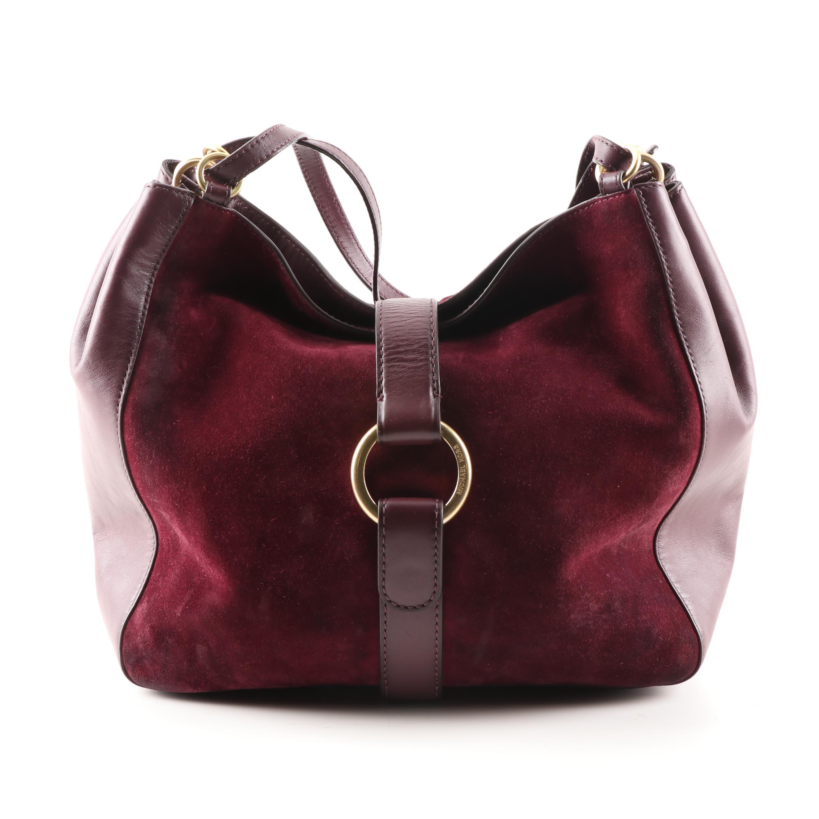 MICHAEL KORS Michael Kors Merlot Leather and Suede Hobo Bag