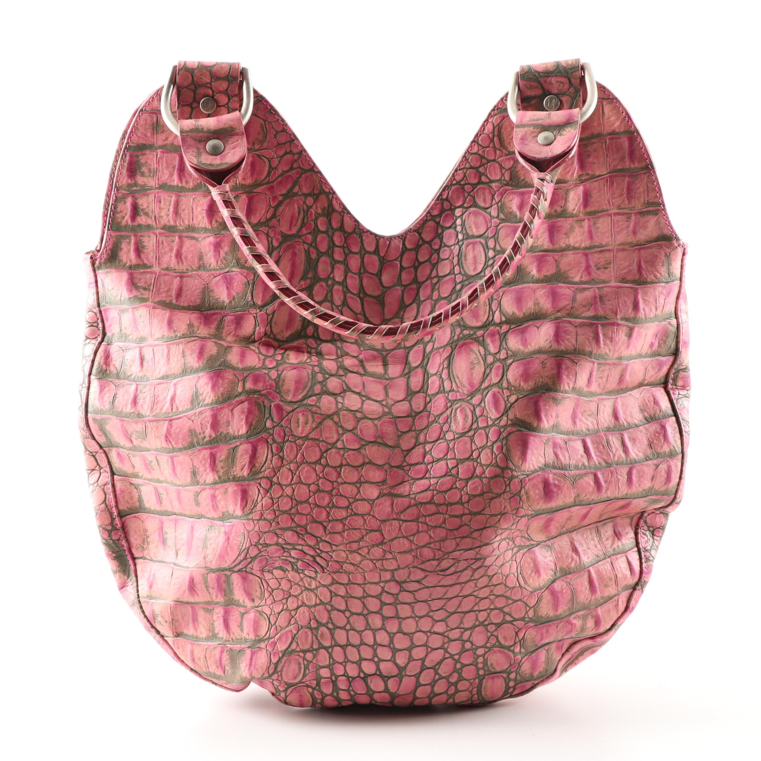 Donald J. Pliner Couture Croc Embossed Leather Handbag