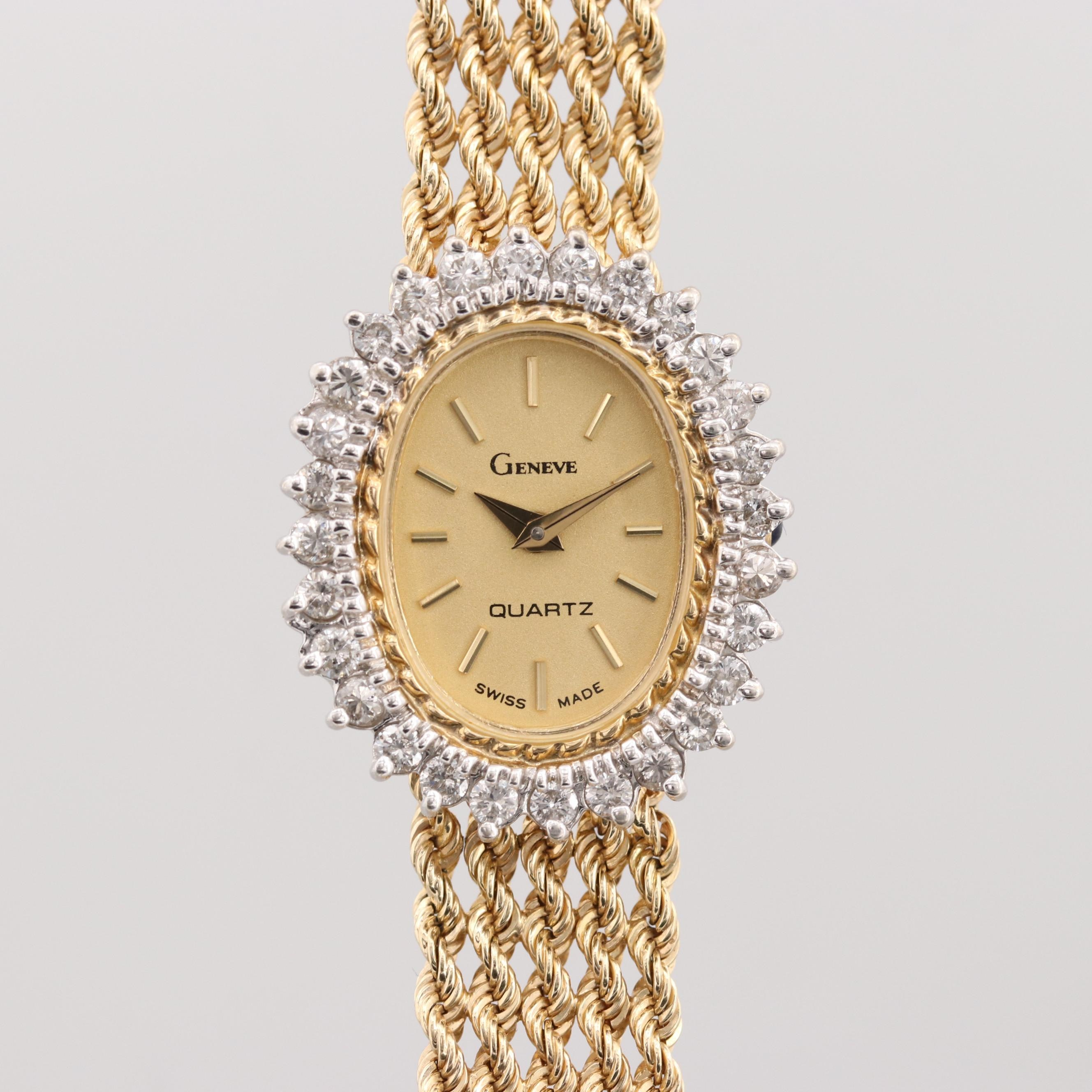 Vintage Geneve 14K Yellow Gold Diamond Quartz Wristwatch