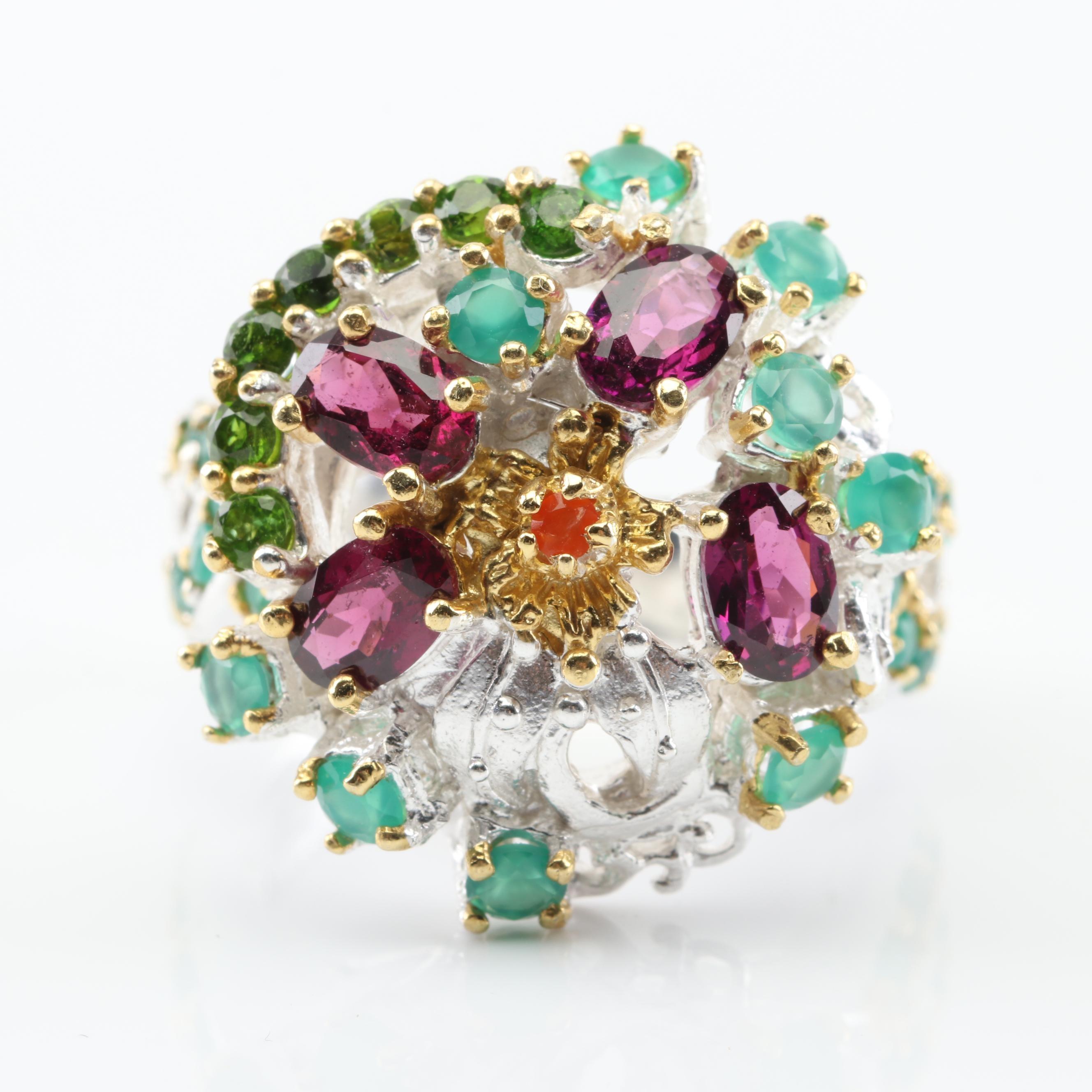 Sterling Silver Garnet and Multi-Gemstone Ring