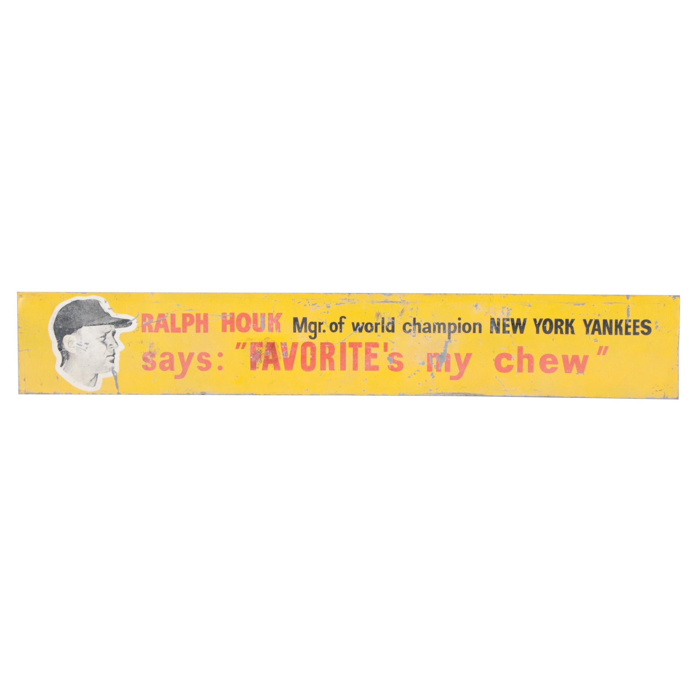 Ralph Houk Yankees Tobacco Metal Sign