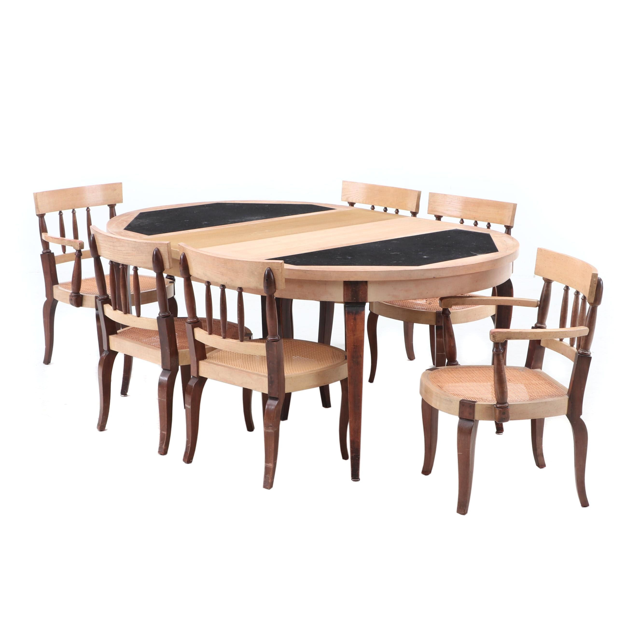 Granite Top Oak and Walnut Dining Table Set