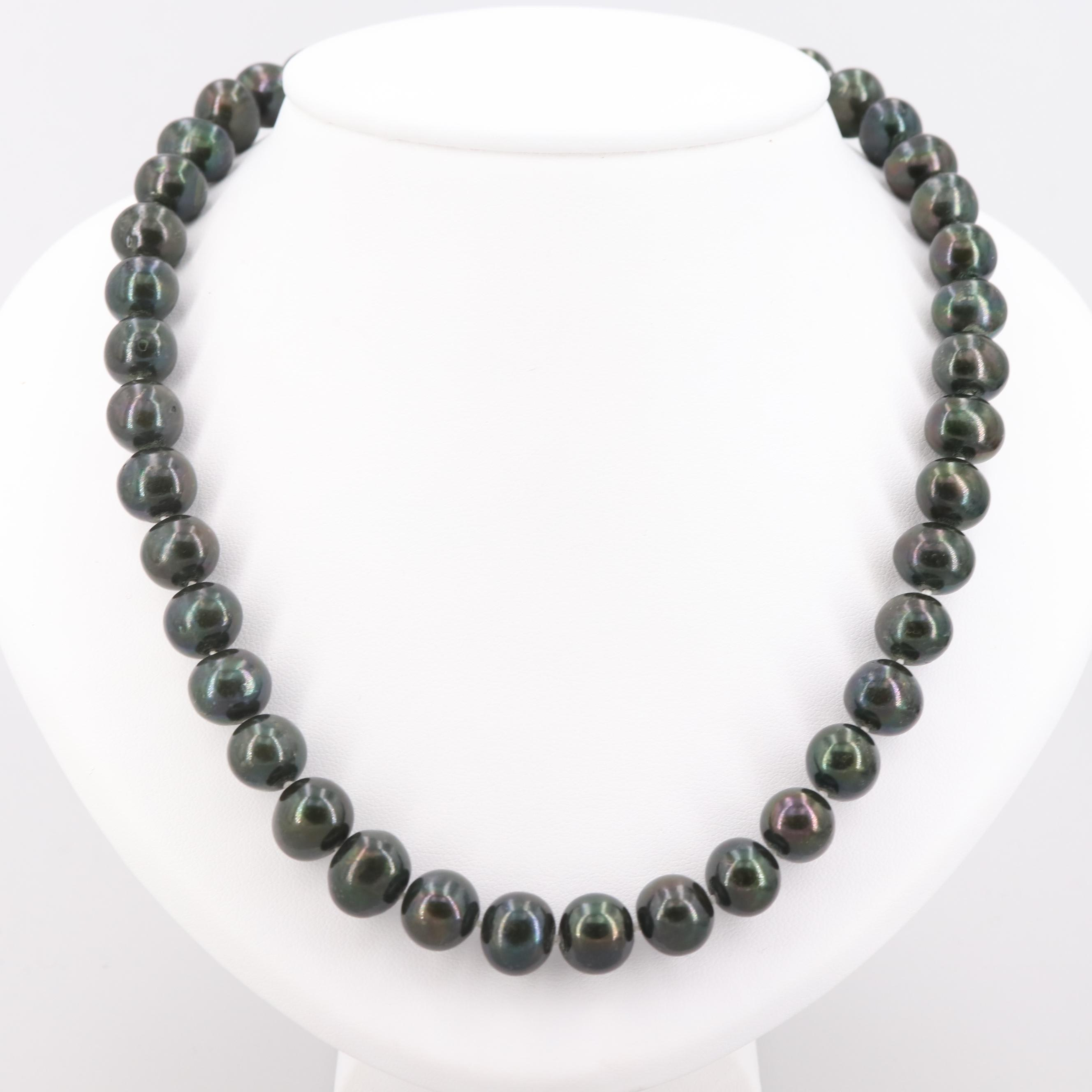 Cultured Pearl Bead Necklace with 14K Yellow Gold
