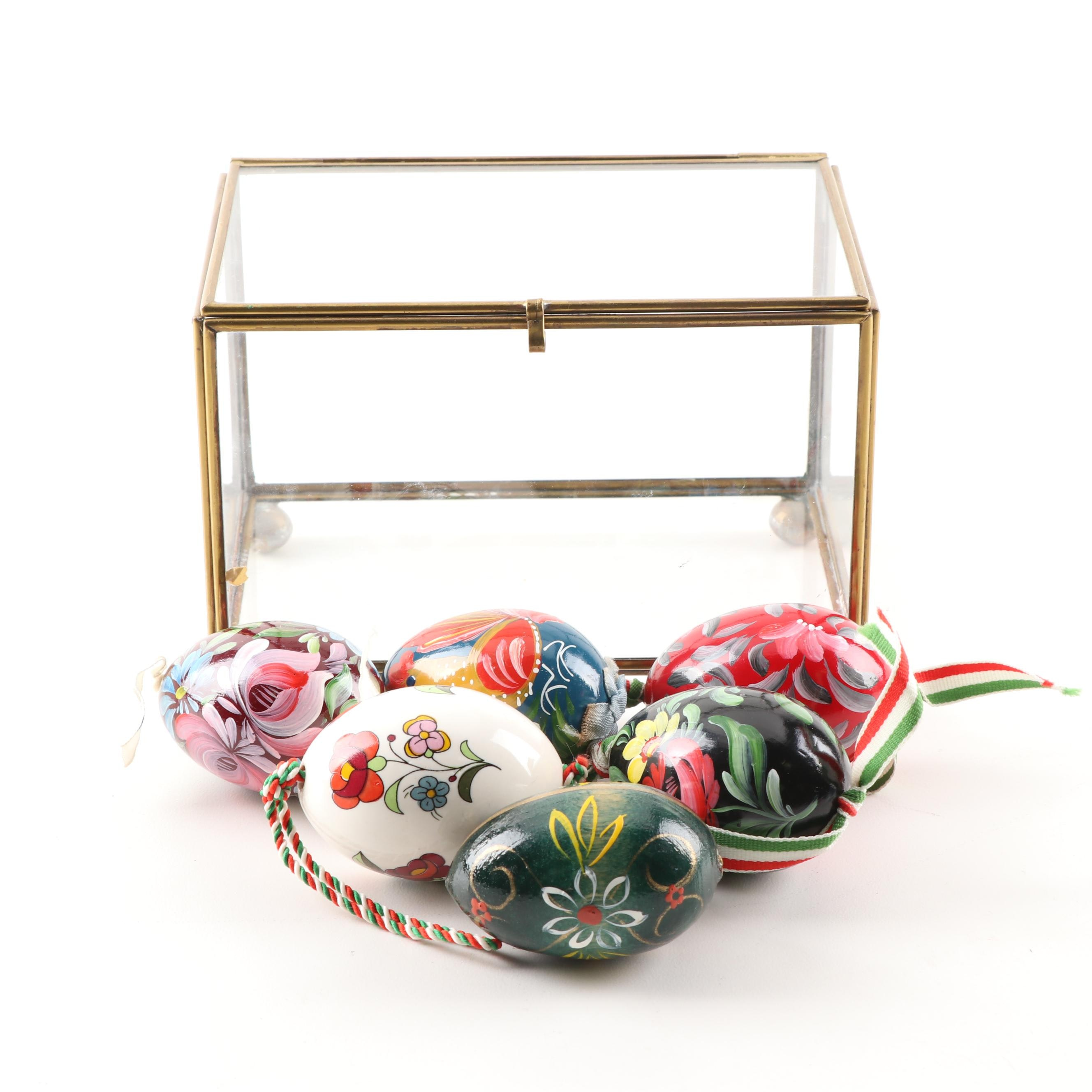 Hand Painted Decorative Eggs in Glass Display Box