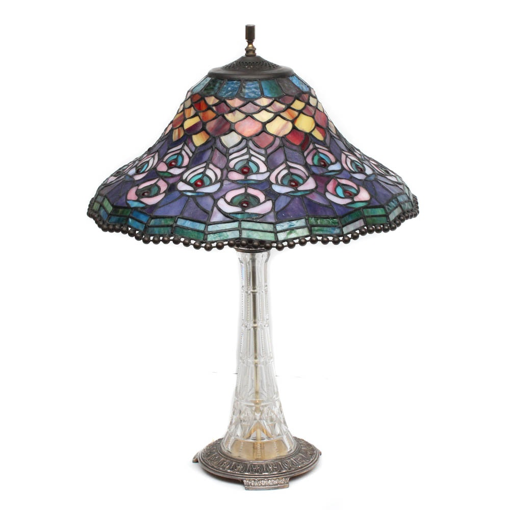 Glass Table Lamp with Stained Glass Shade