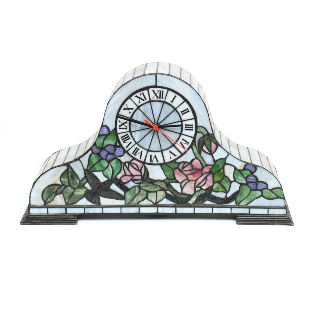 Stained Glass Mantel Clock and Lamp