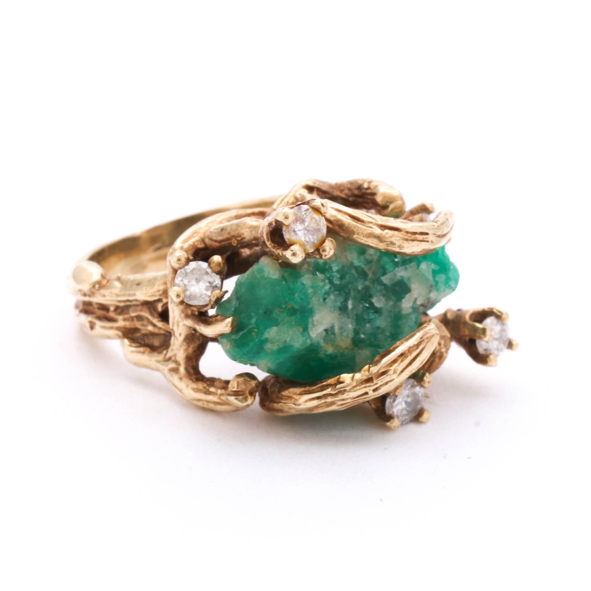 14K Yellow Gold Rough-Cut Emerald and Diamond Ring