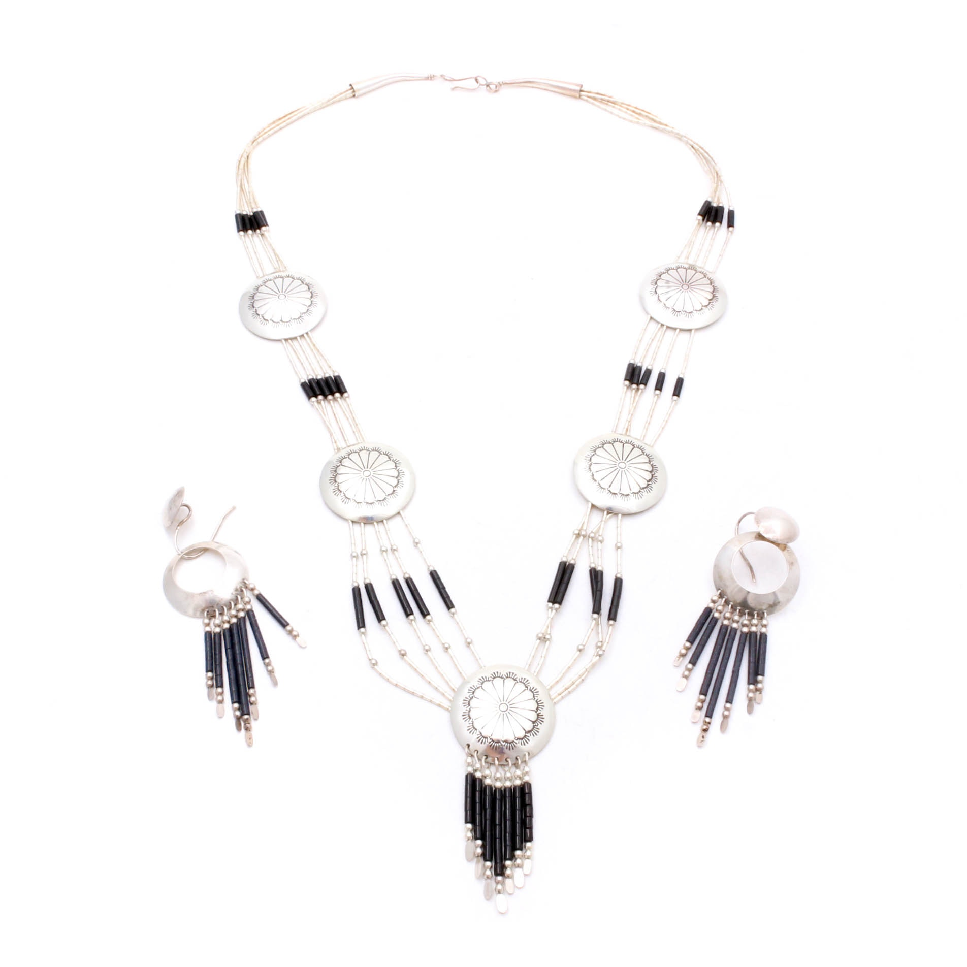 Sterling Silver Onyx Bead Southwest Style Necklace and Earrings Parure