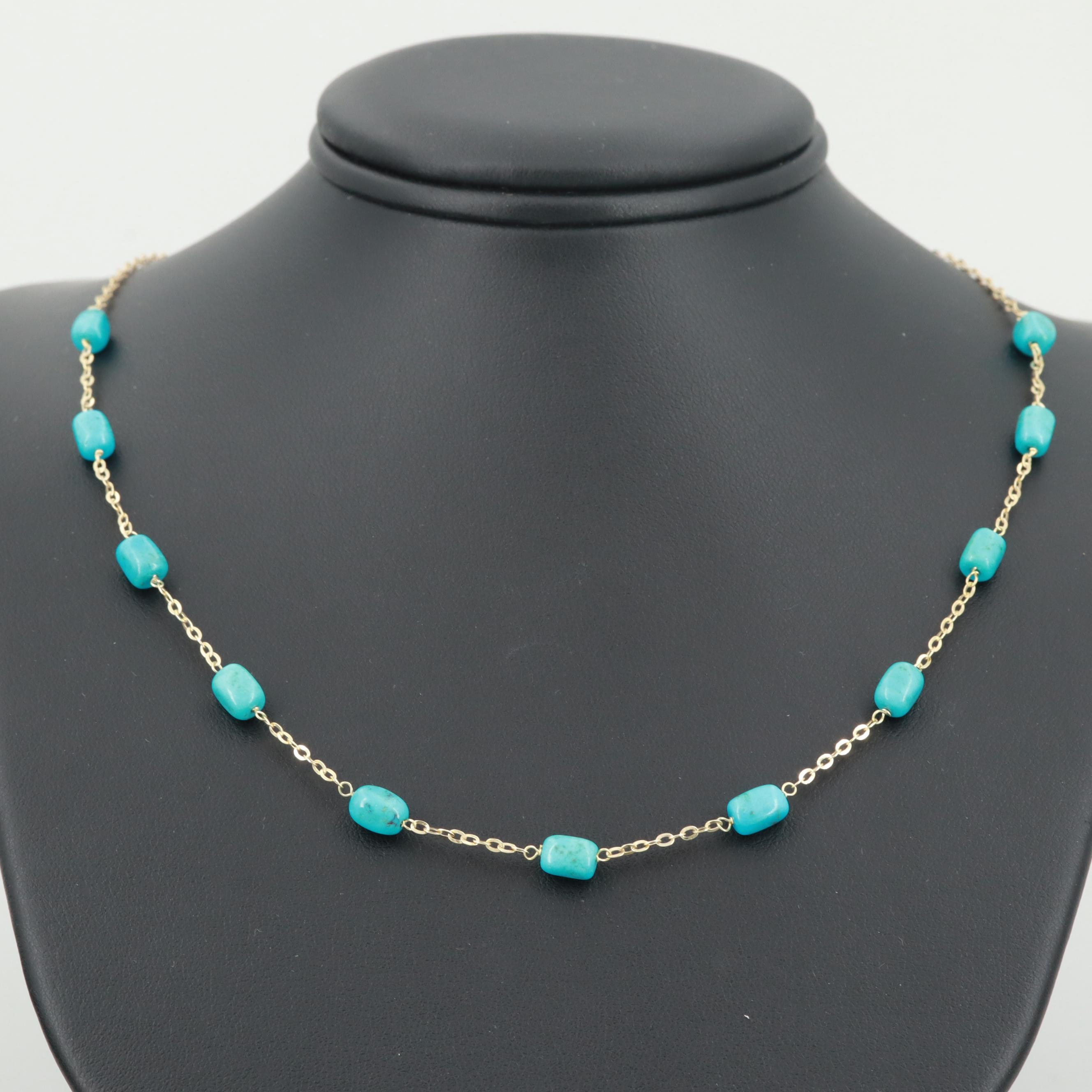 14K Yellow Gold Turquoise Station Necklace