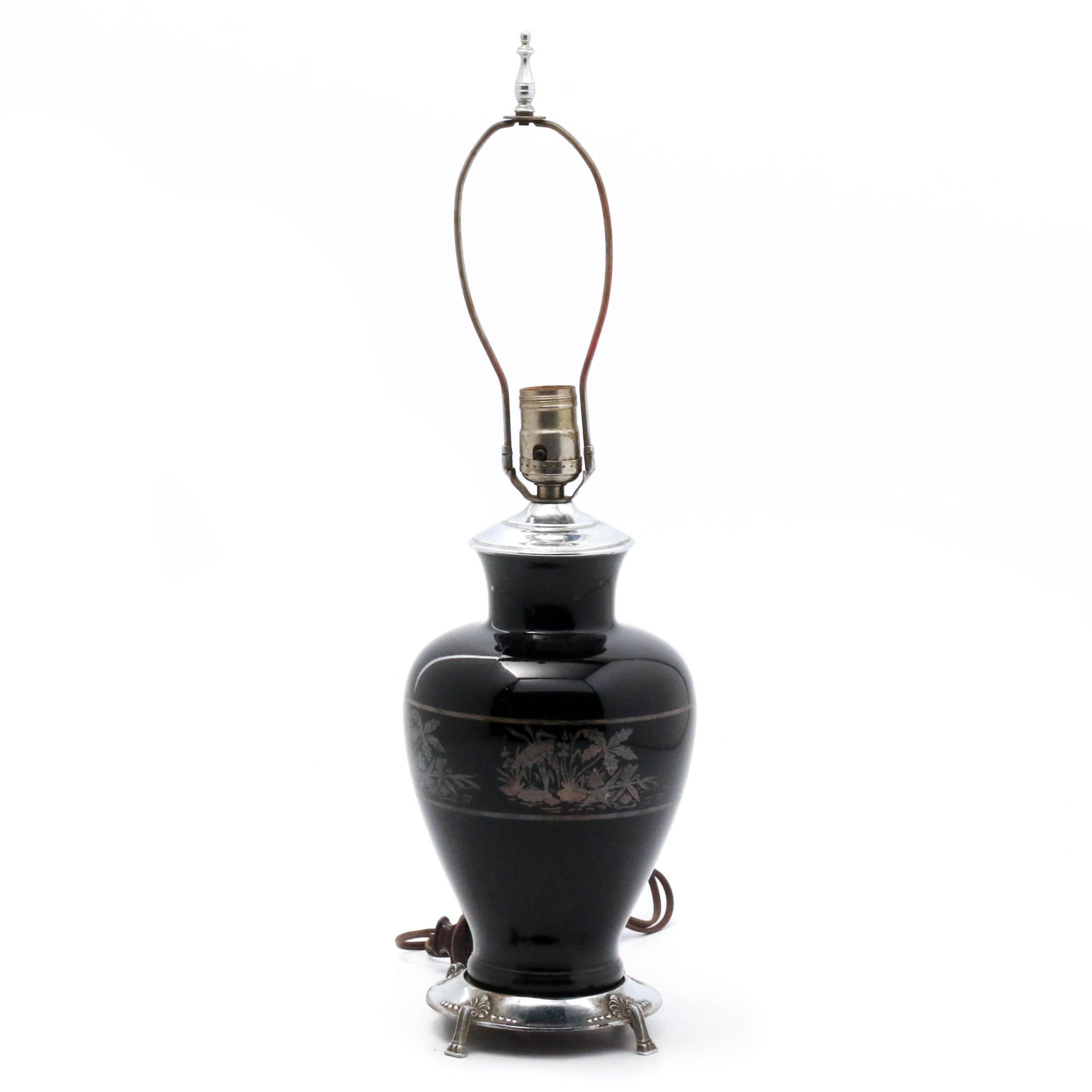 Cranes in Marsh Black Glass Table Lamp, Early 20th Century
