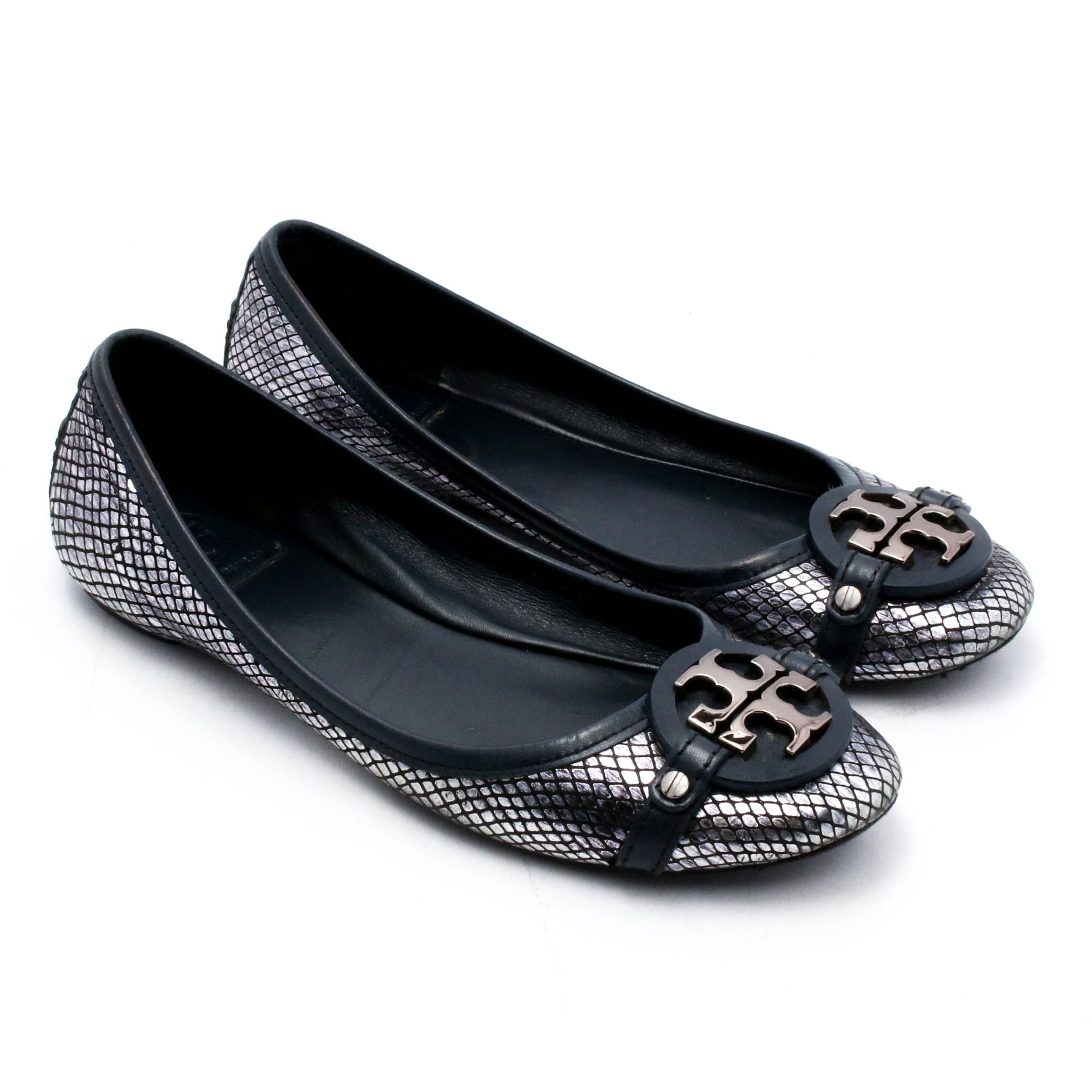 Tory Burch Silver Metallic and Black Leather Flats