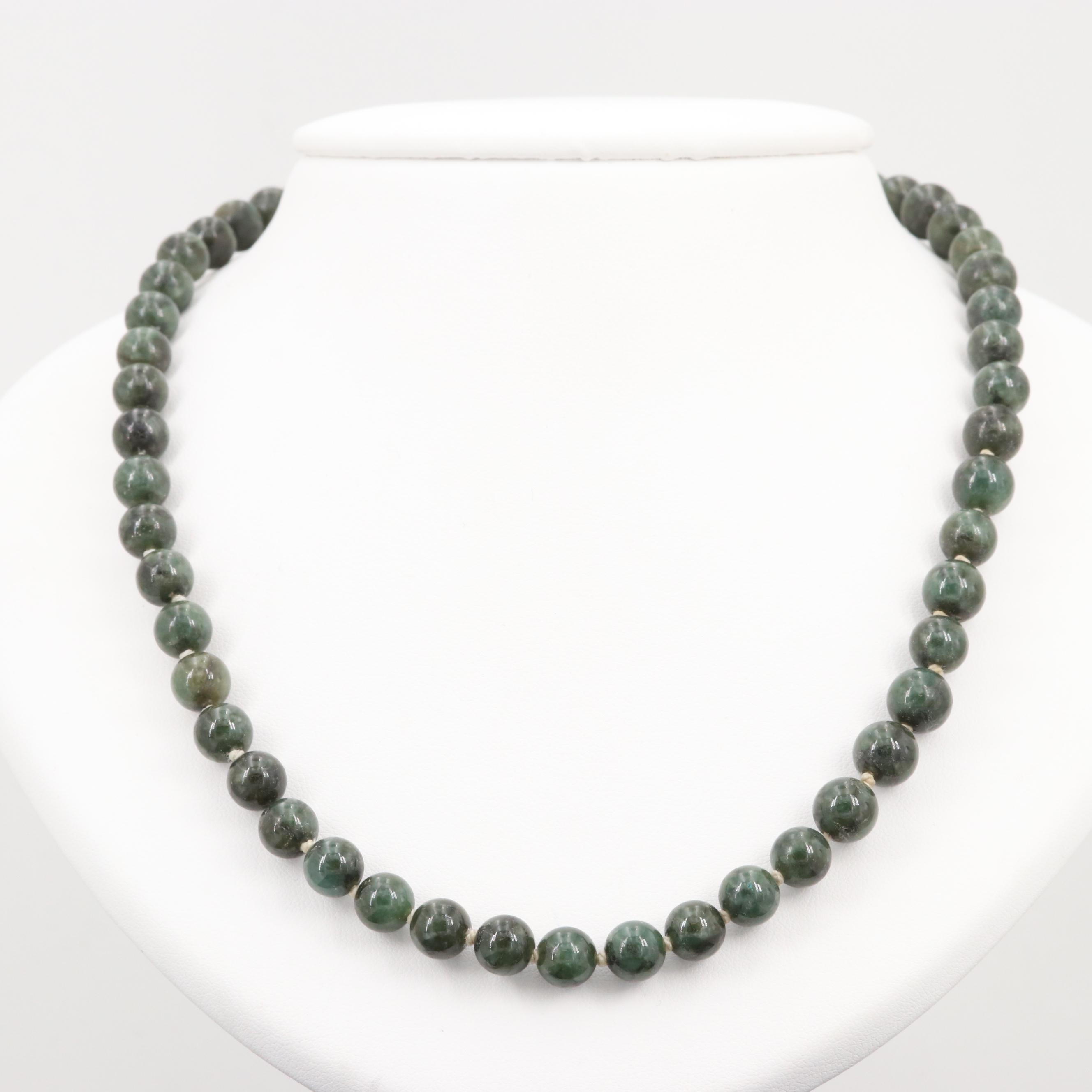 10K Yellow Gold Nephrite Individually Knotted Bead Necklace
