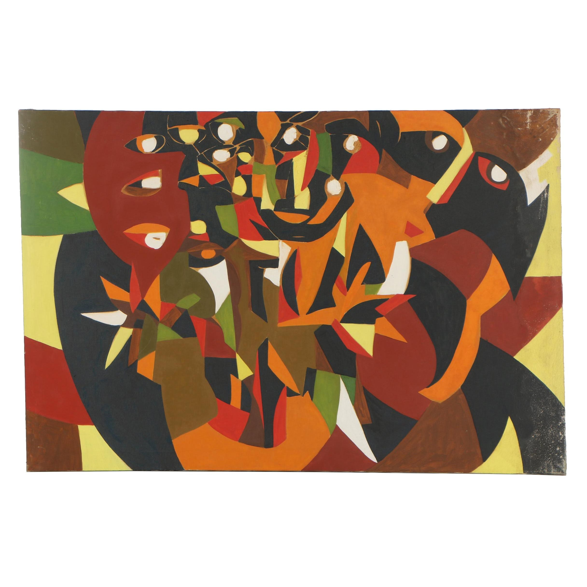 Abstract Oil Painting Attributed to Arnold Weber