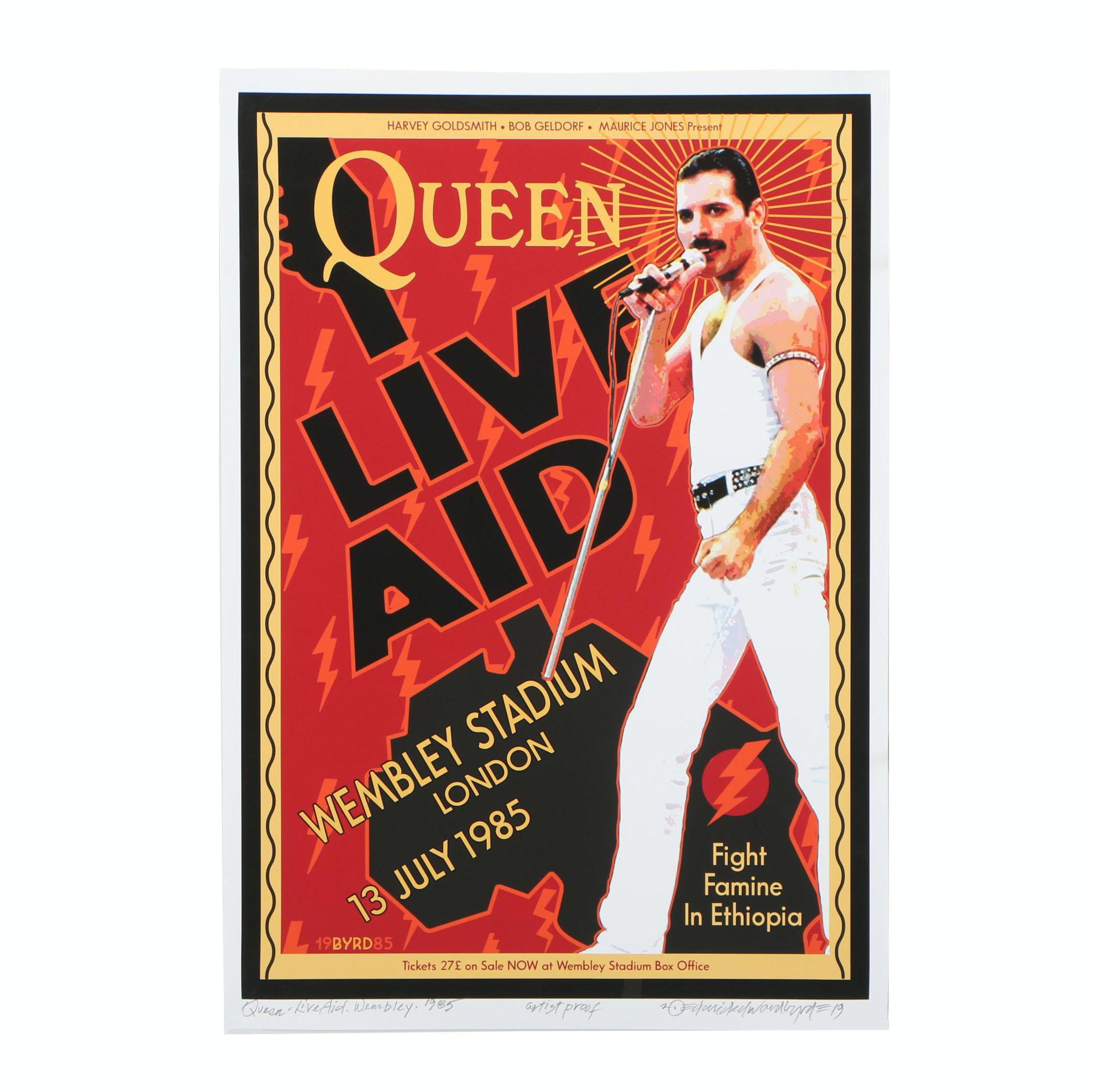 """David Edward Byrd Giclée """"Queen & Freddie Mercury at Live Aid- July, 1985"""""""