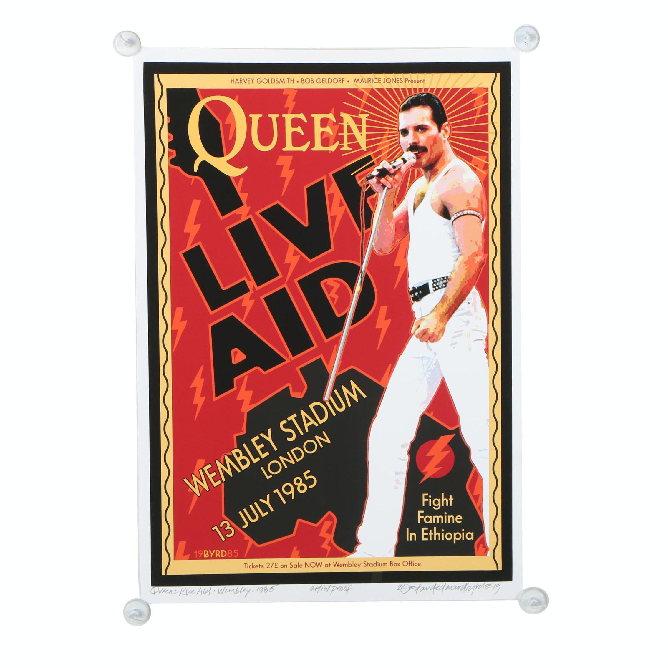 """David Edward Byrd Giclée """"Queen & Freddie Mercury at Live Aid - July, 1985"""""""