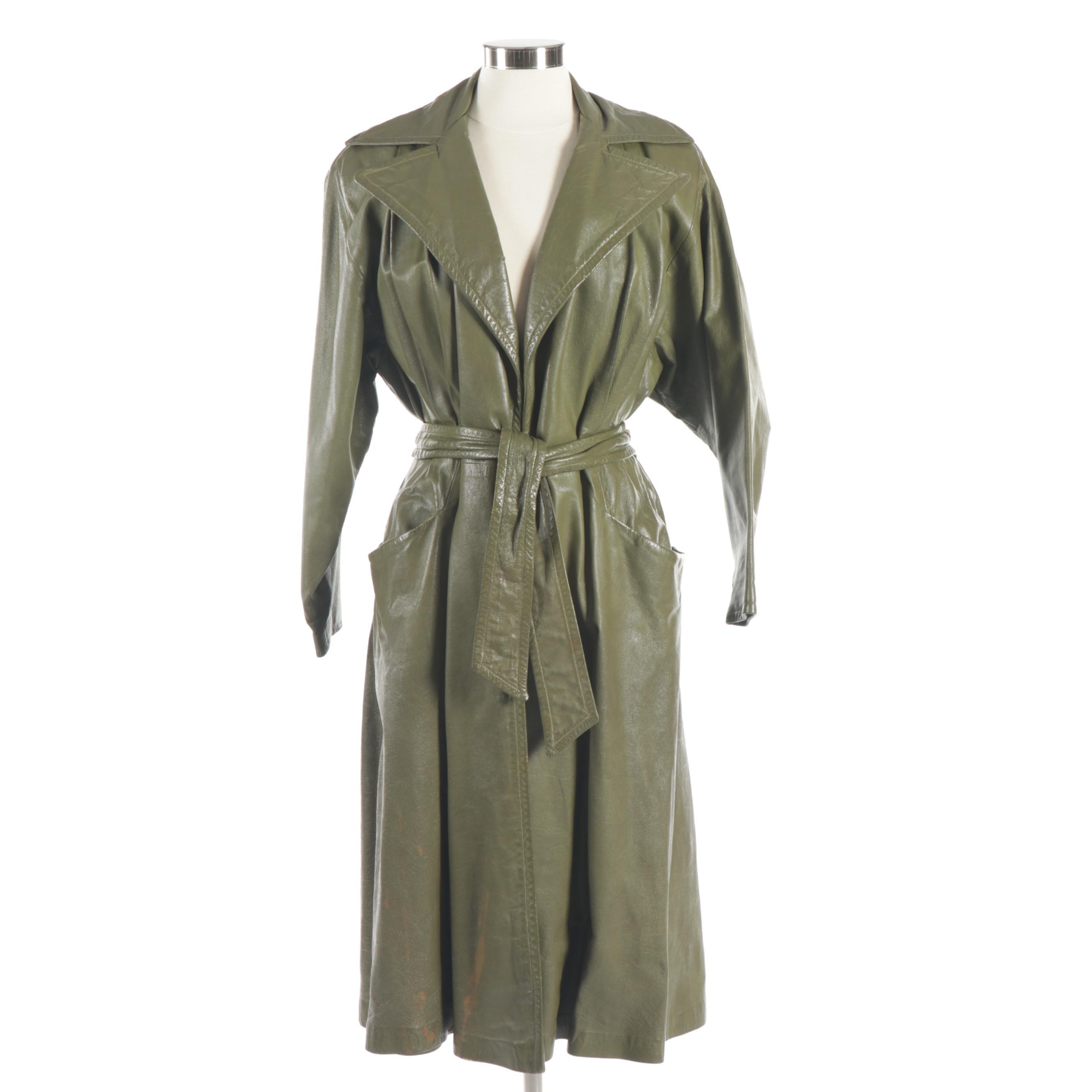 Samuel Robert Olive Green Leather Trench Coat, Vintage