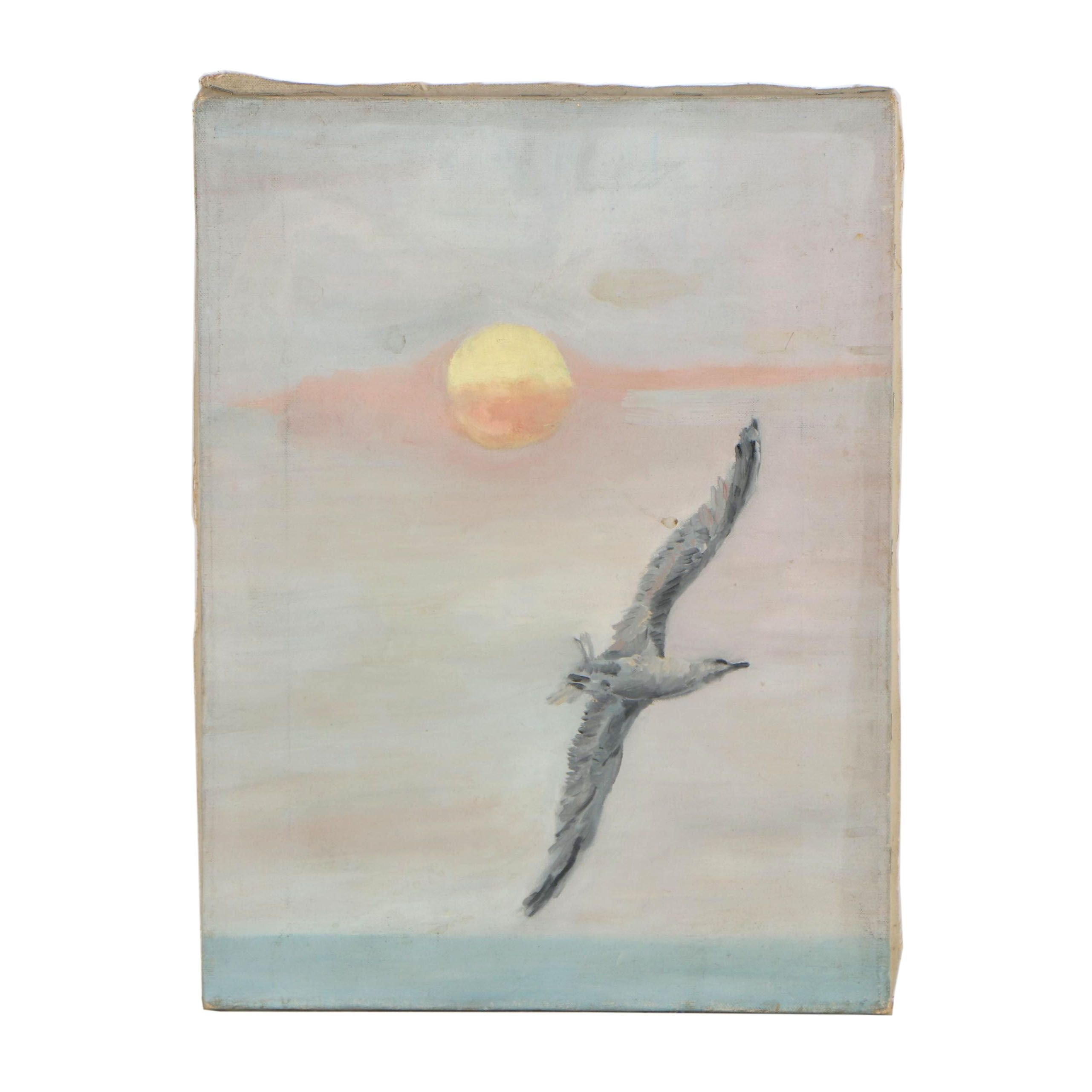 Late 20th Century Acrylic Painting of Flying Seagull