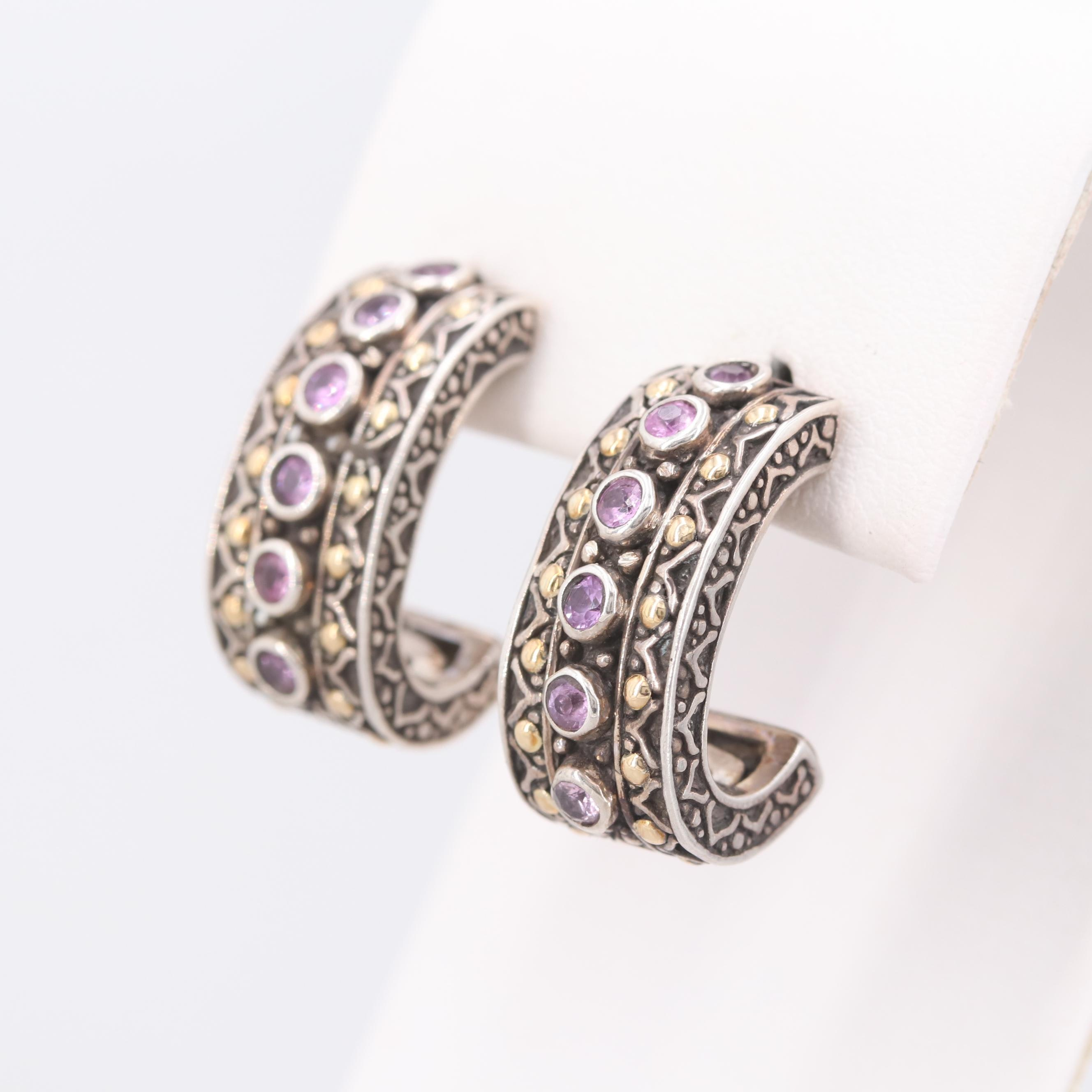 Robert Manse Sterling Silver Pink Sapphire Earrings with 18K Yellow Gold Accents